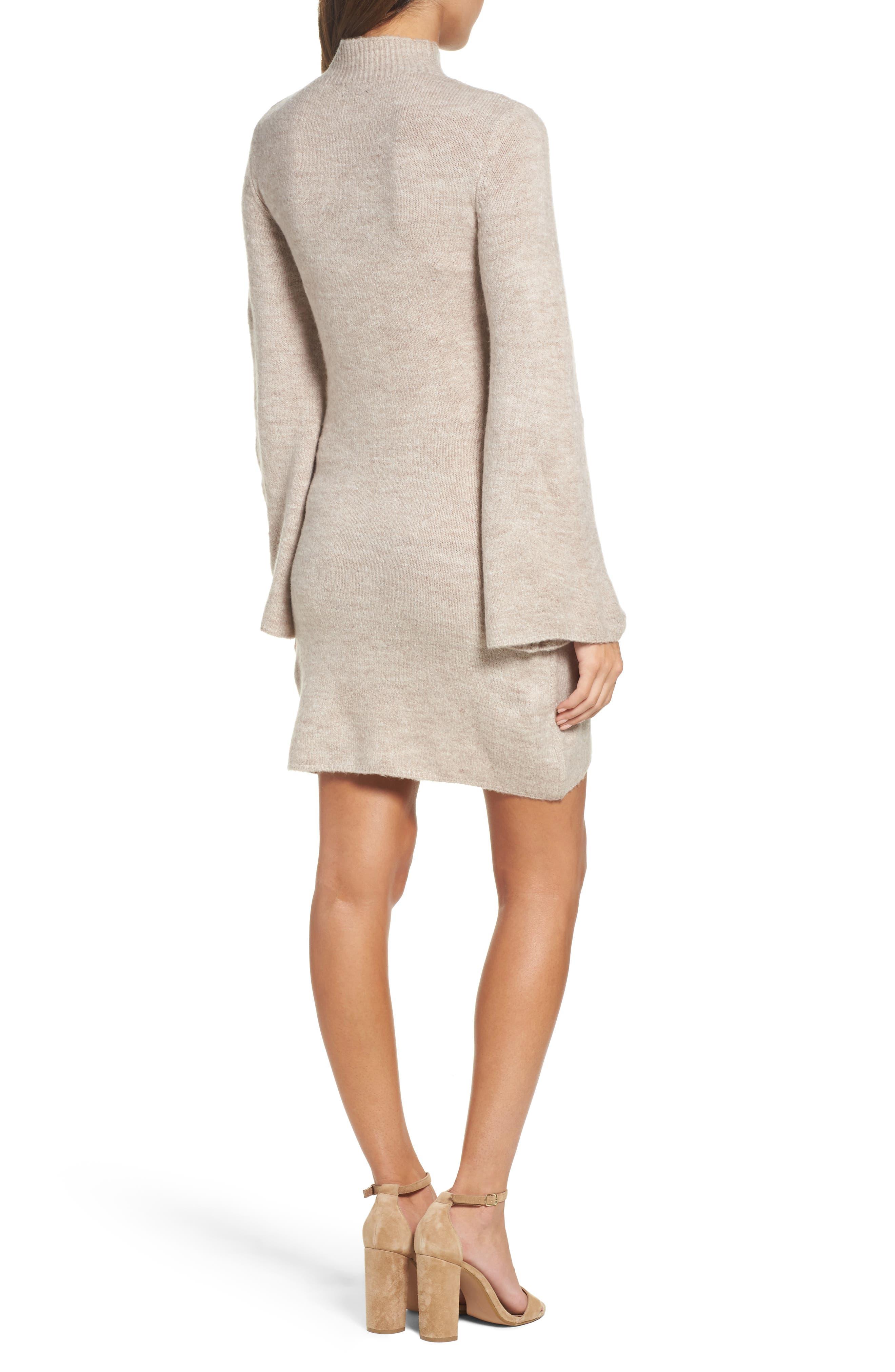 Bell Sleeve Knit Dress,                             Alternate thumbnail 4, color,