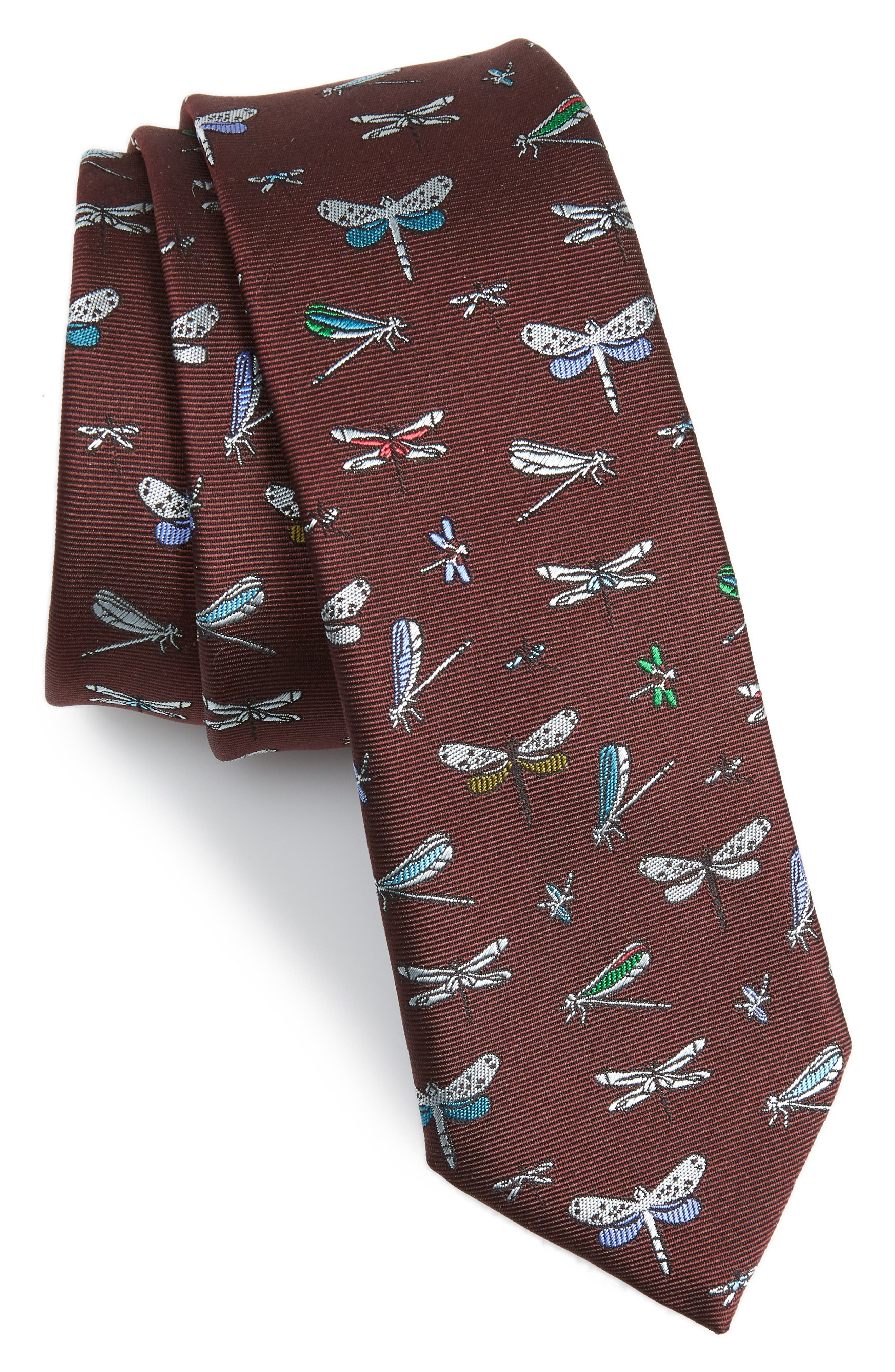 Dragonfly Silk Tie,                         Main,                         color, BURGUNDY