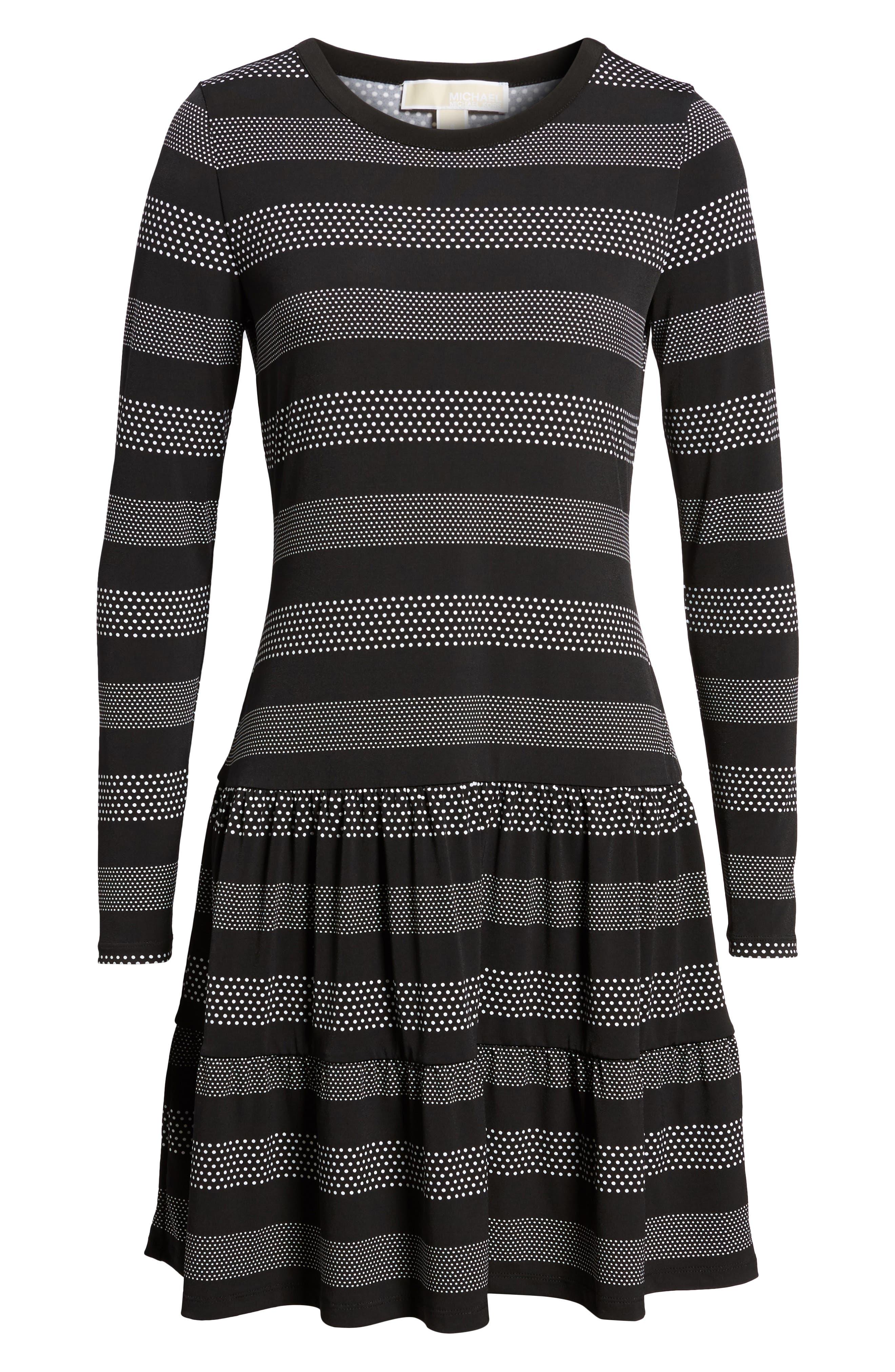 Stripe Dot Drop Waist Dress,                             Alternate thumbnail 6, color,                             018