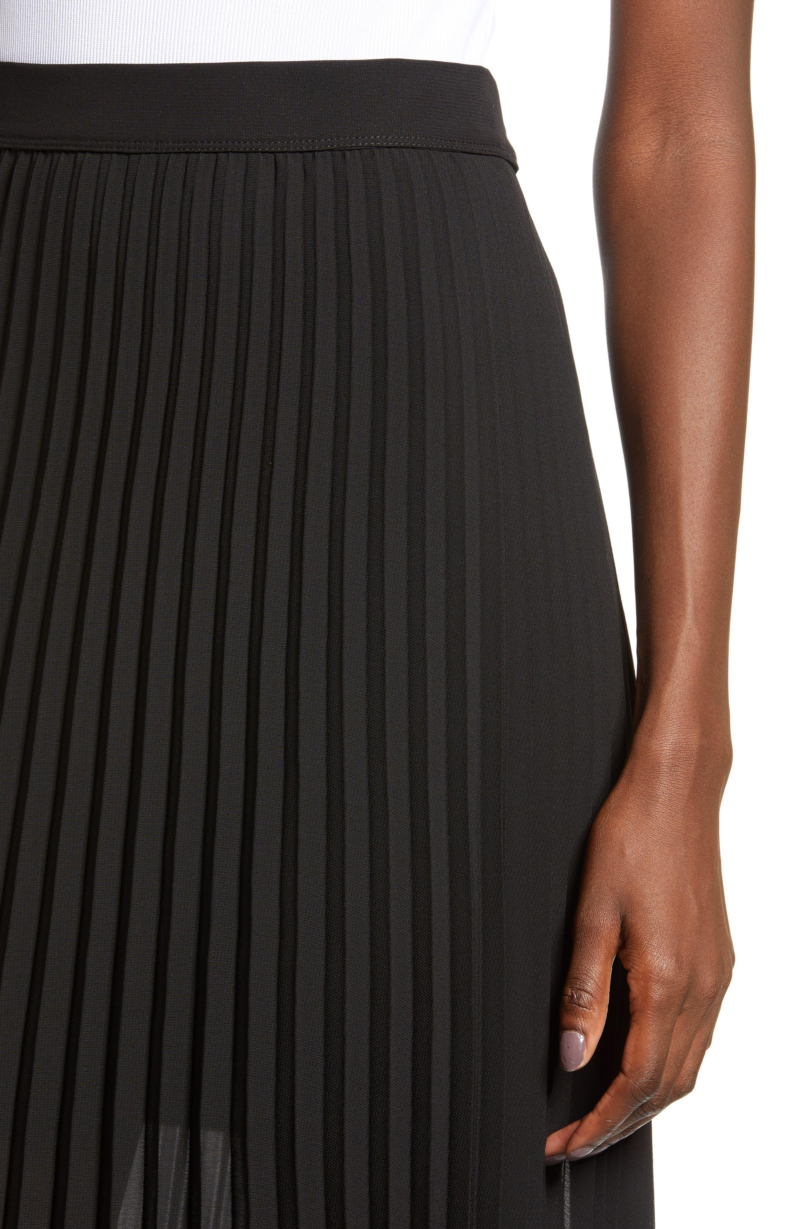 LOVE, FIRE,                             Pleated Georgette Midi Skirt,                             Alternate thumbnail 4, color,                             001