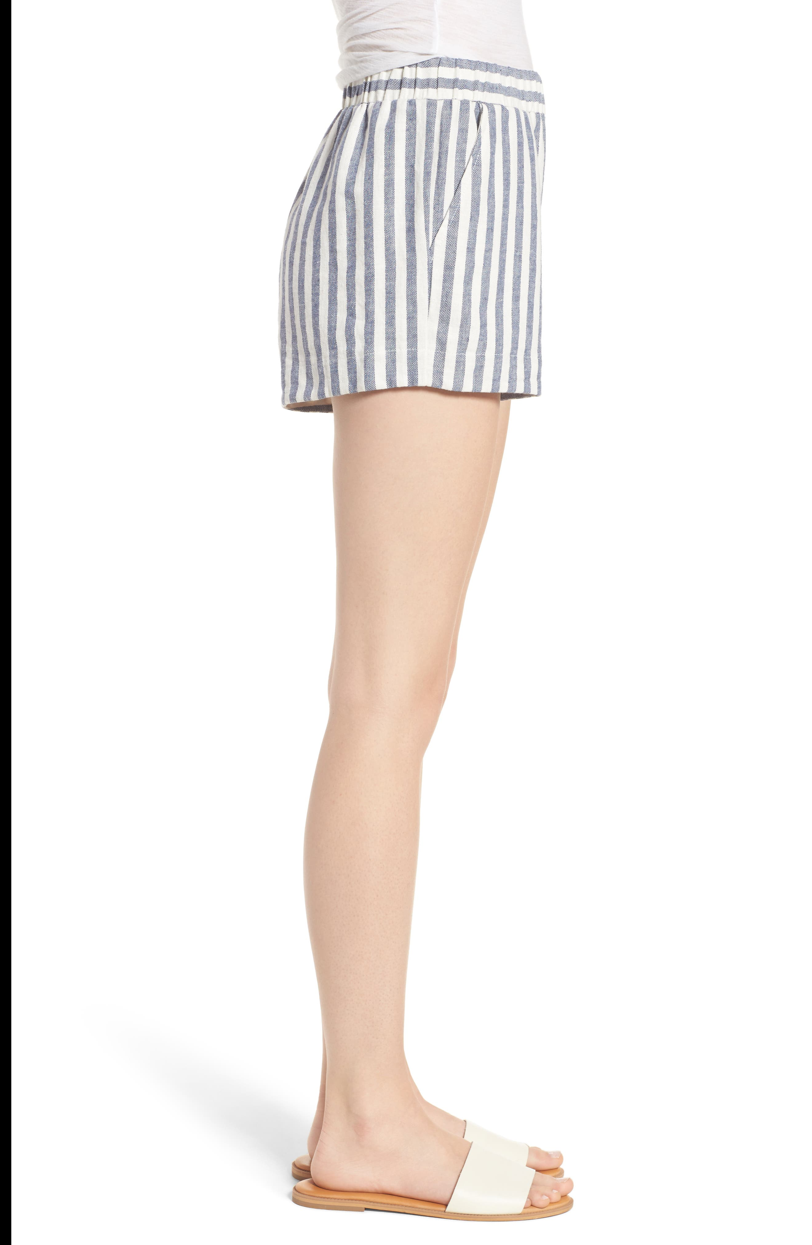Stripe Linen Blend Shorts,                             Alternate thumbnail 3, color,                             903