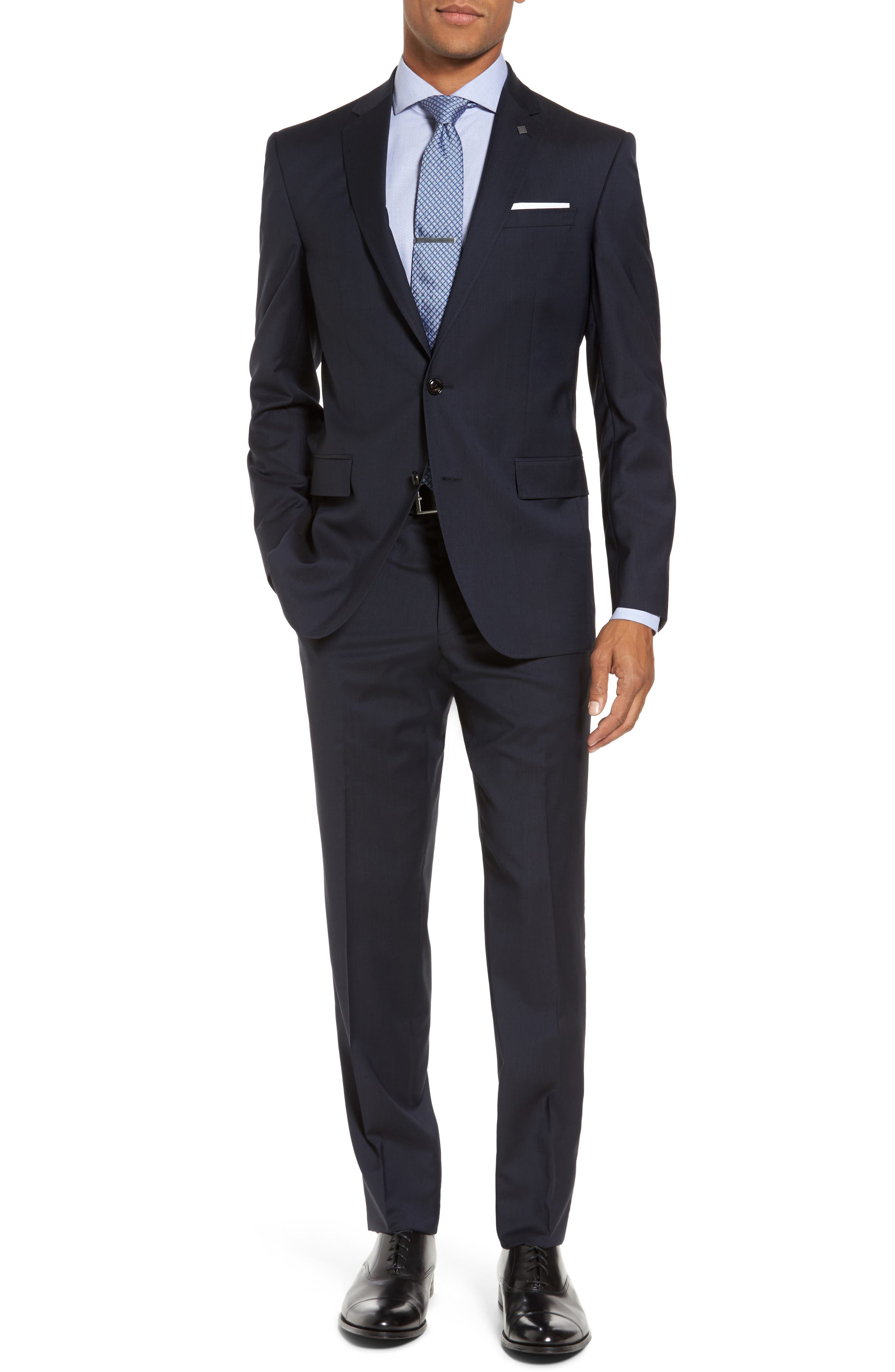 Trim Fit Solid Wool Suit,                         Main,                         color,