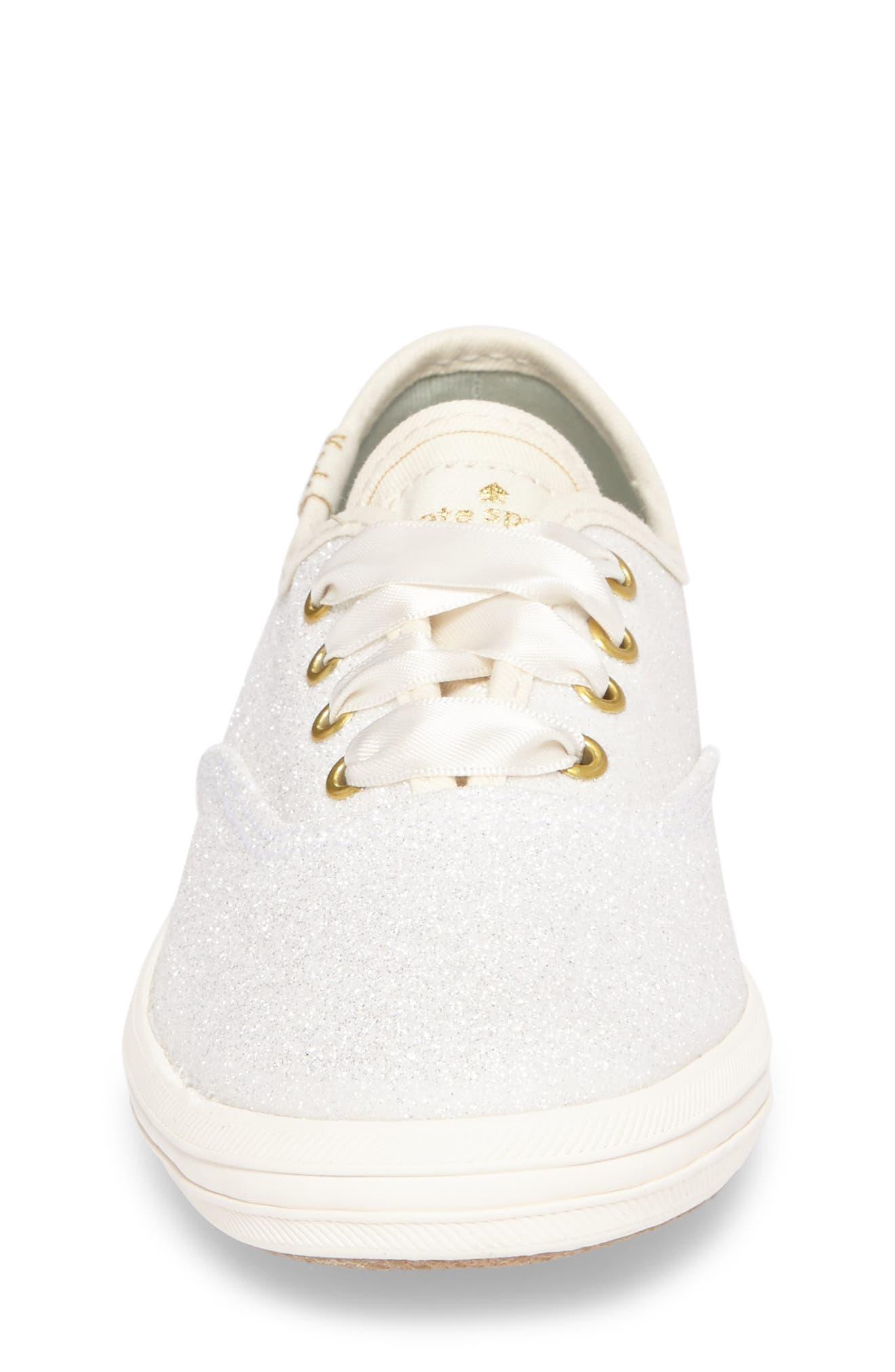 x kate spade new york Champion Glitter Sneaker,                             Alternate thumbnail 4, color,                             CREAM