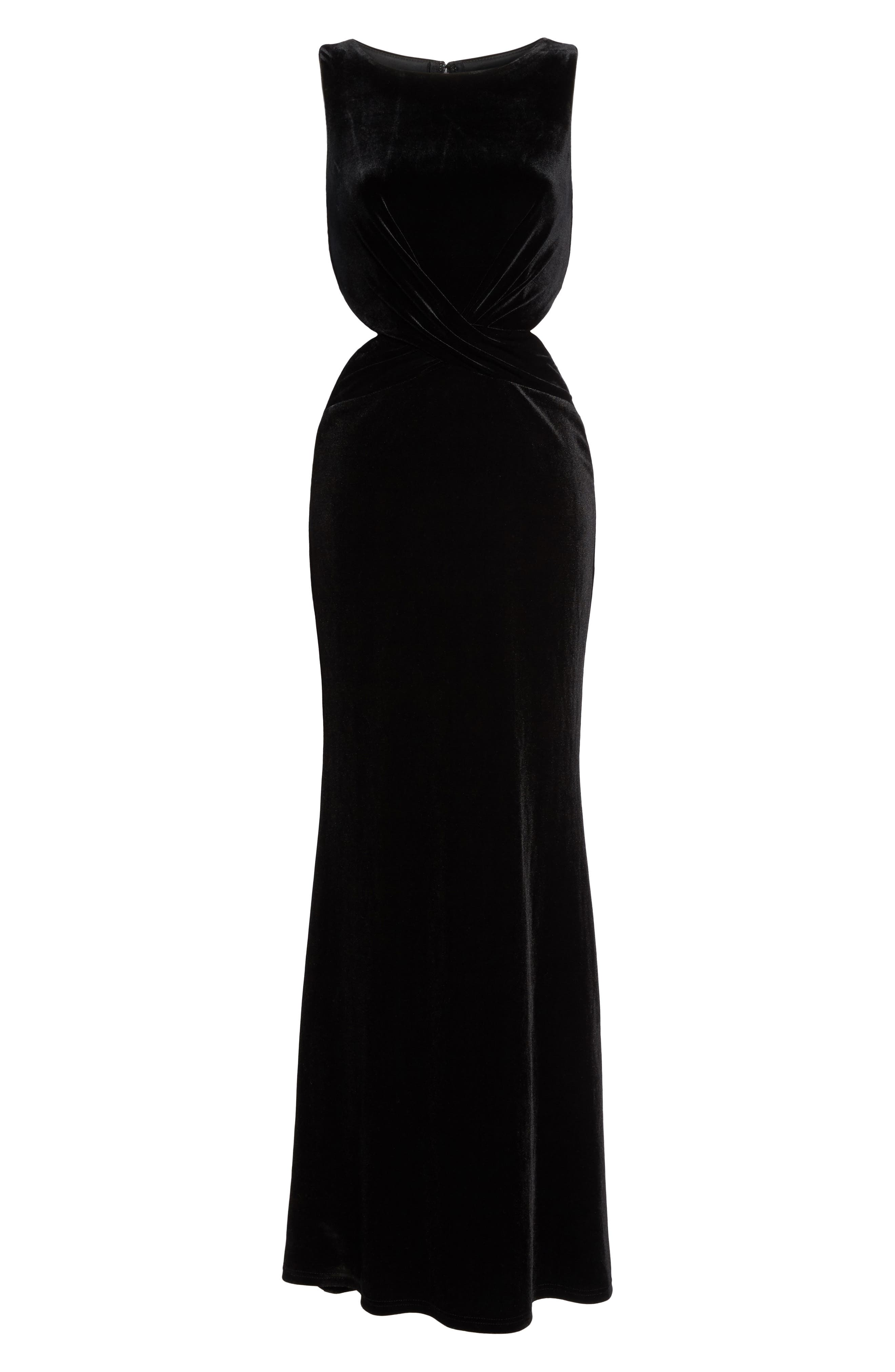 Reach Out Velvet Maxi Dress,                             Alternate thumbnail 6, color,                             001