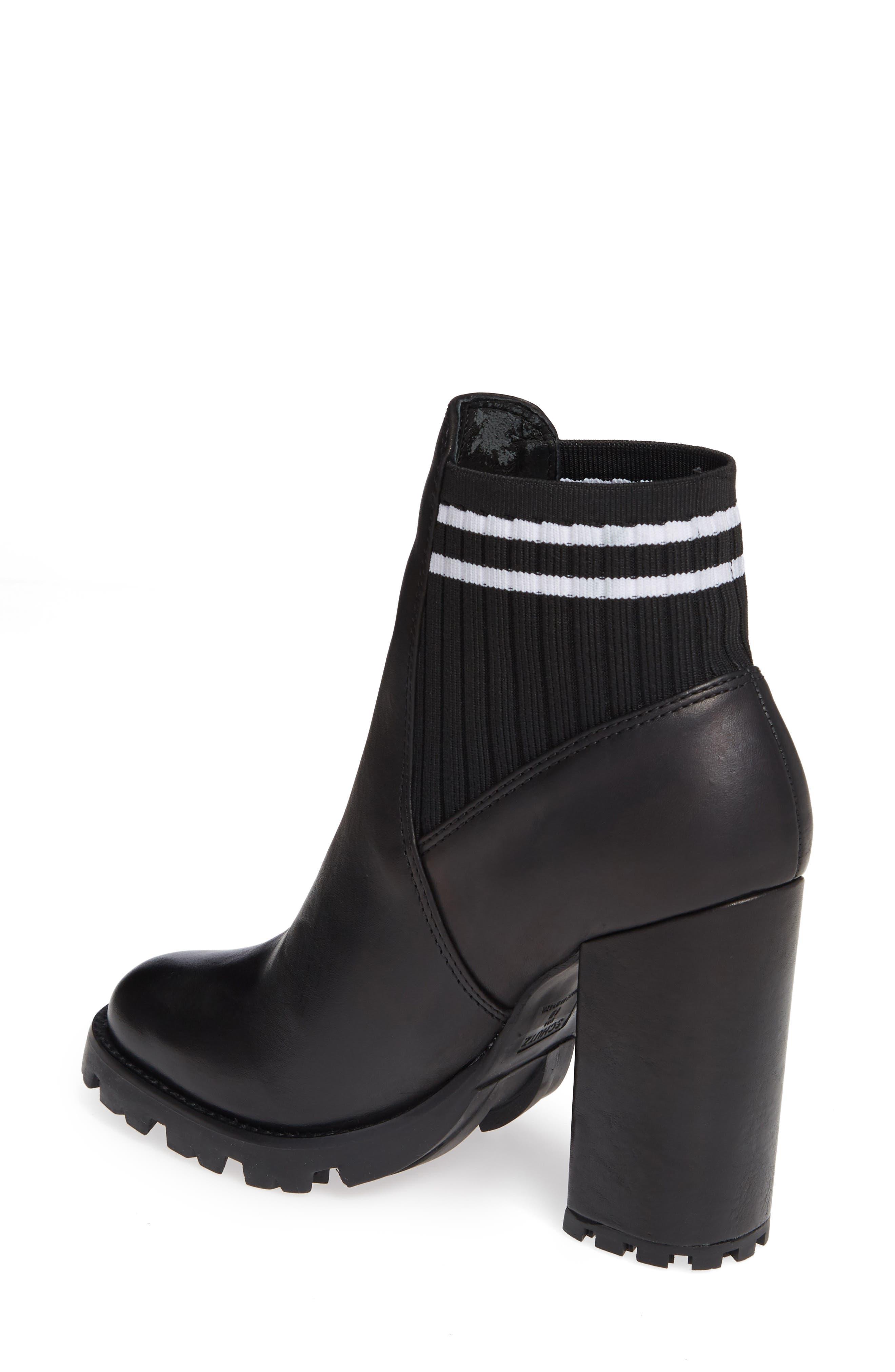 Ilenne Platform Sock Bootie,                             Alternate thumbnail 2, color,                             BLACK/ WHITE
