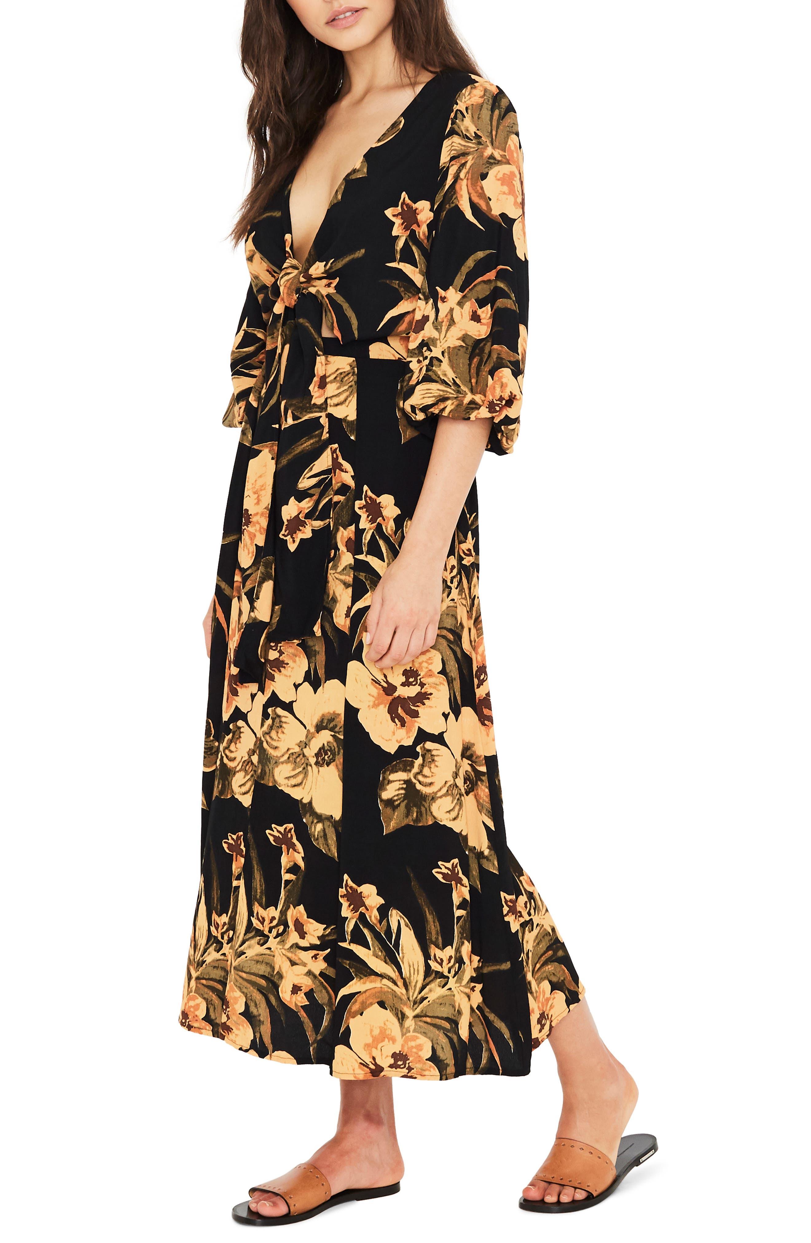 Oliviera Floral Print Cutout Midi Dress,                             Alternate thumbnail 3, color,                             CARIBBEAN PRINT