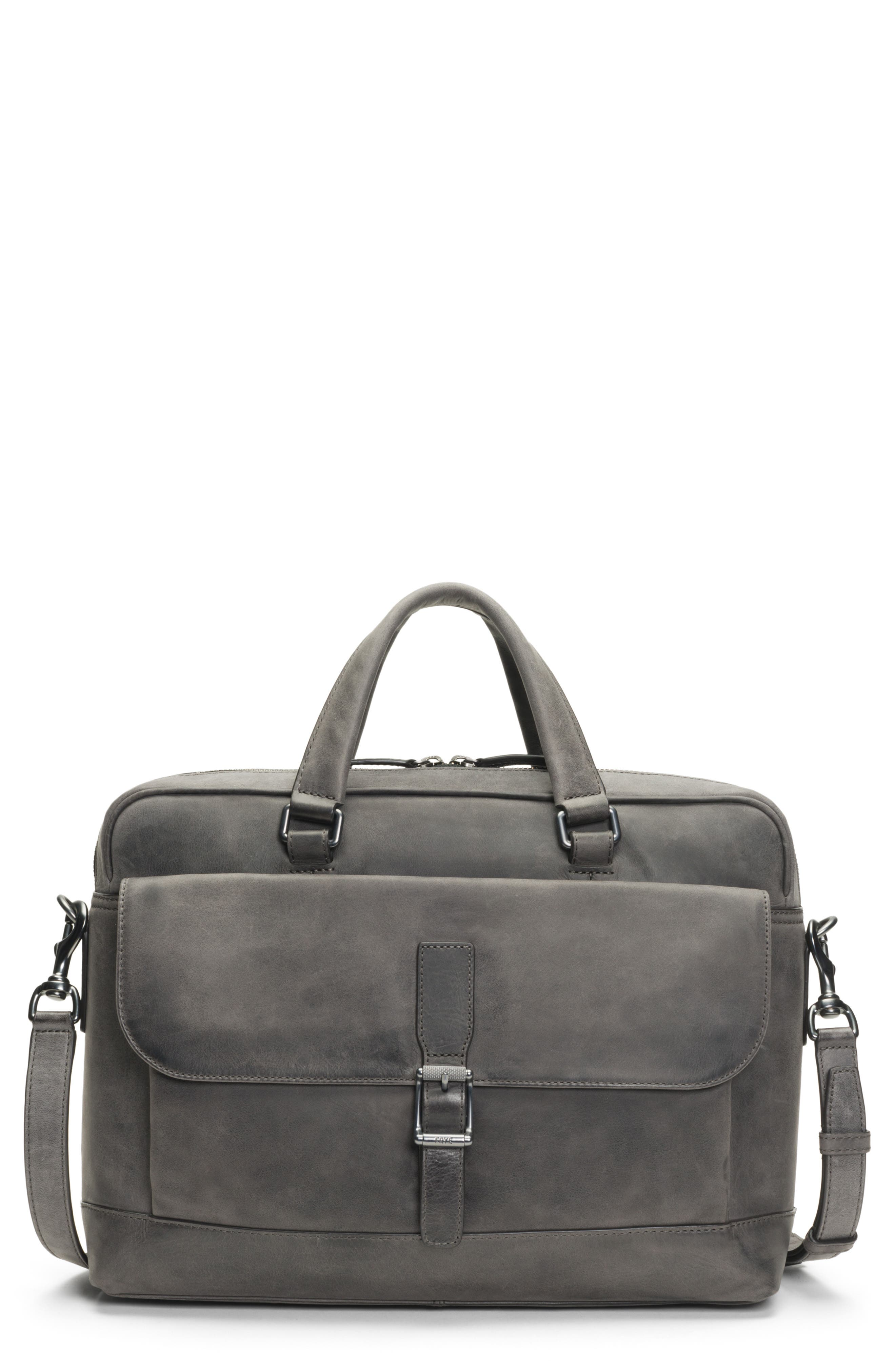 Oliver Leather Briefcase,                         Main,                         color, SLATE