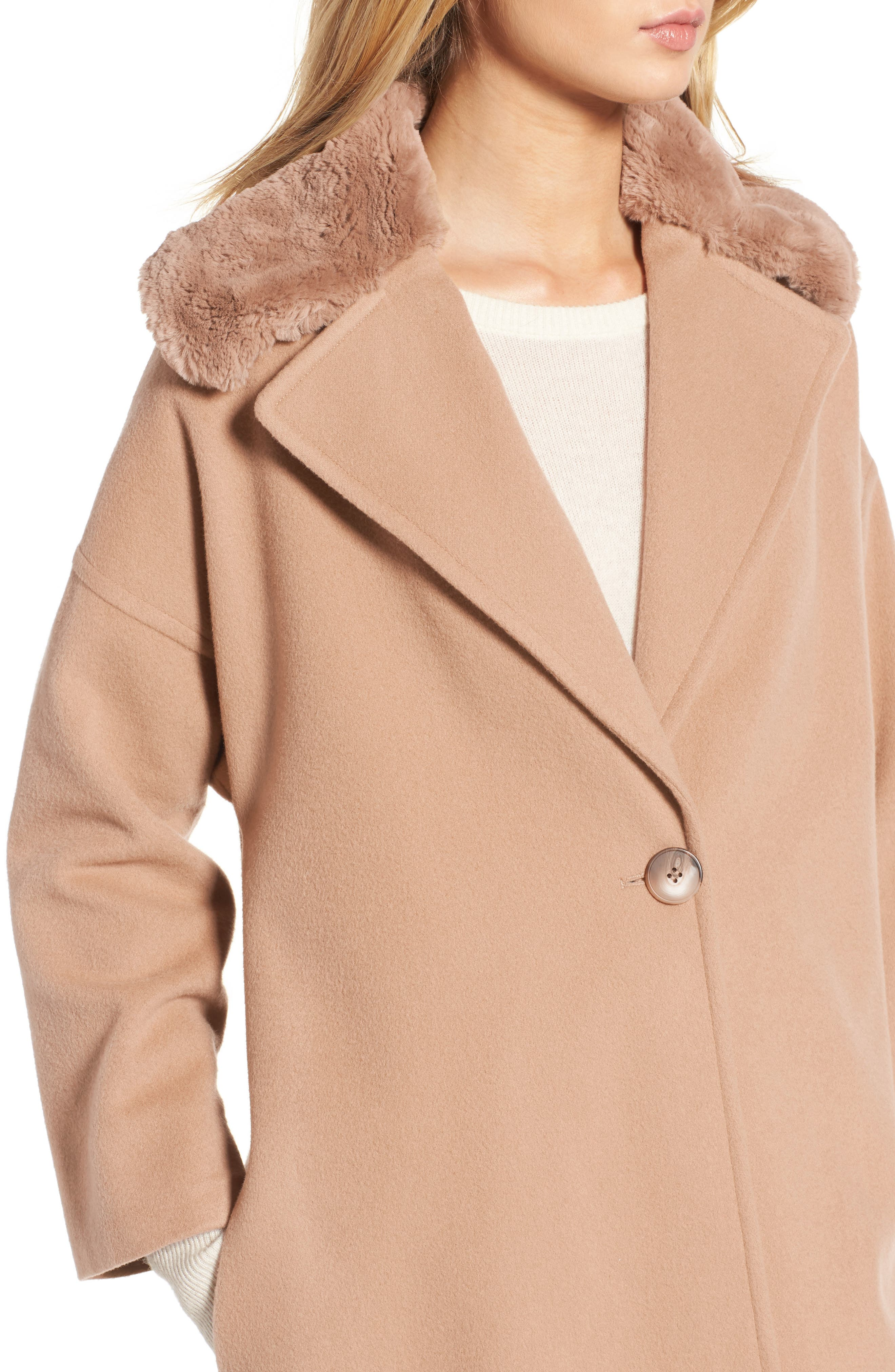 Faux Fur Collar Overcoat,                             Alternate thumbnail 4, color,