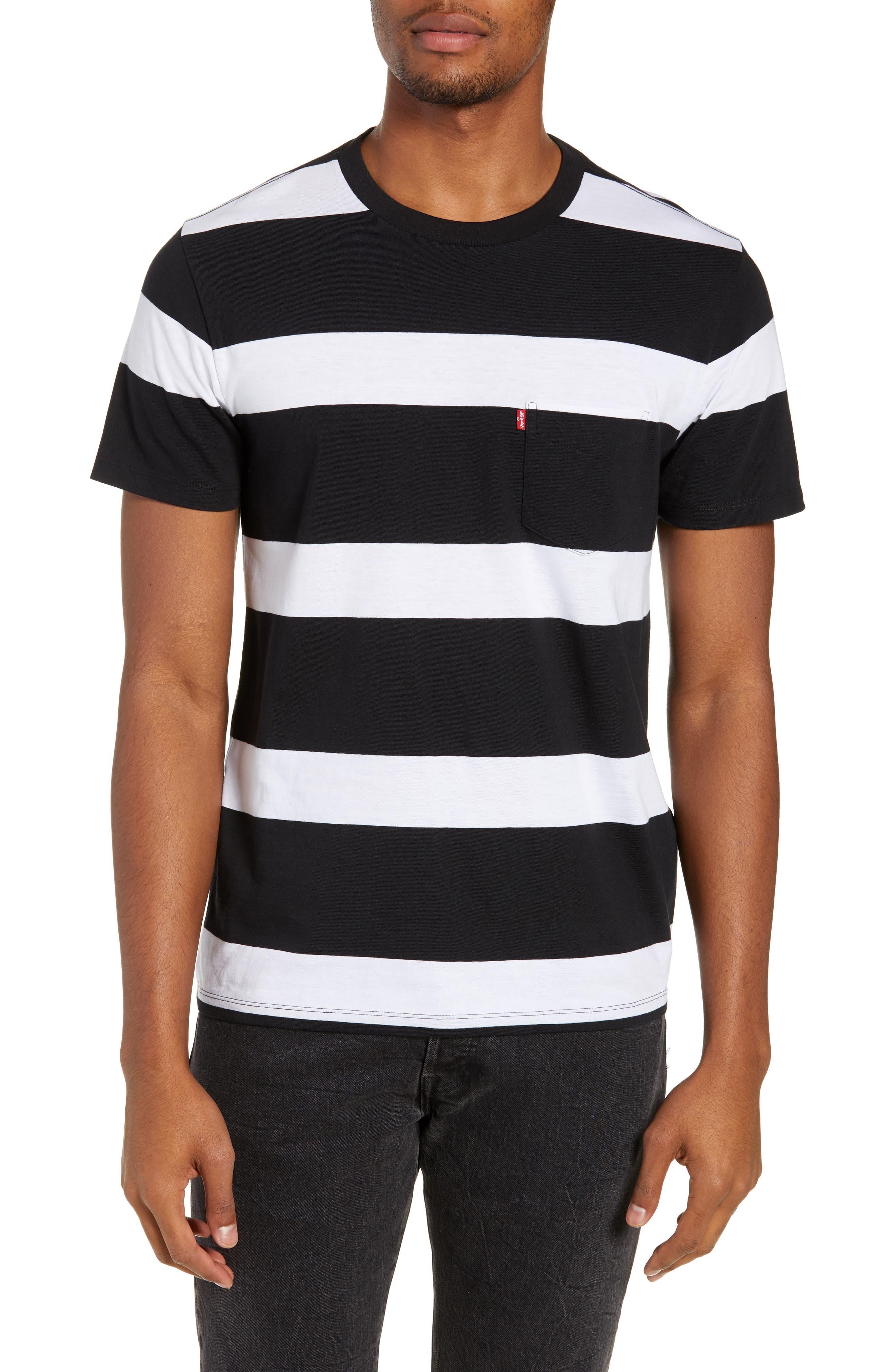 Pocket T-Shirt,                         Main,                         color, BLACK/ WHITE STRIPES