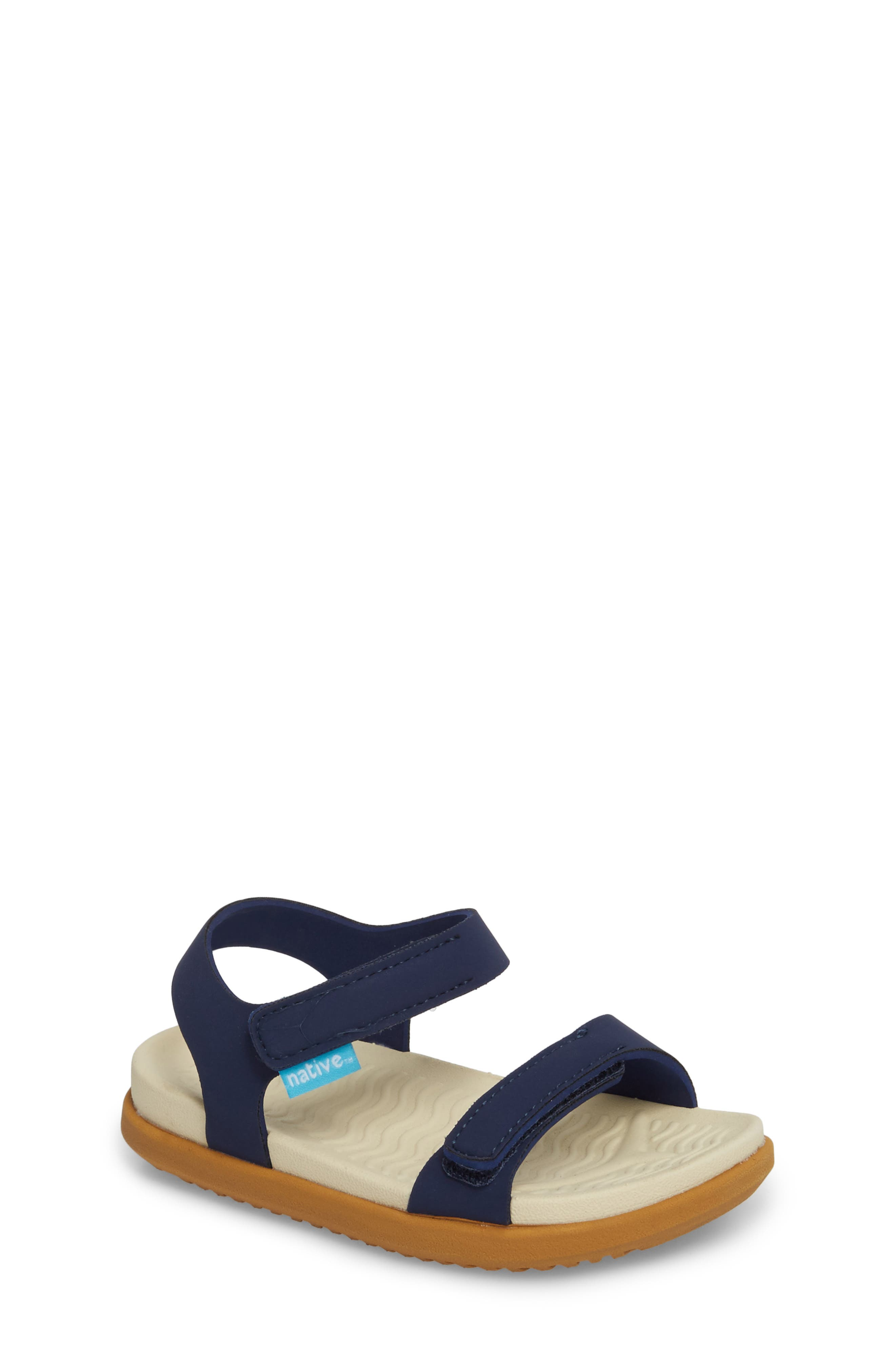 Charley Child Waterproof Flat Sandal,                         Main,                         color, BLUE/ BONE WHITE/ TOFFEE