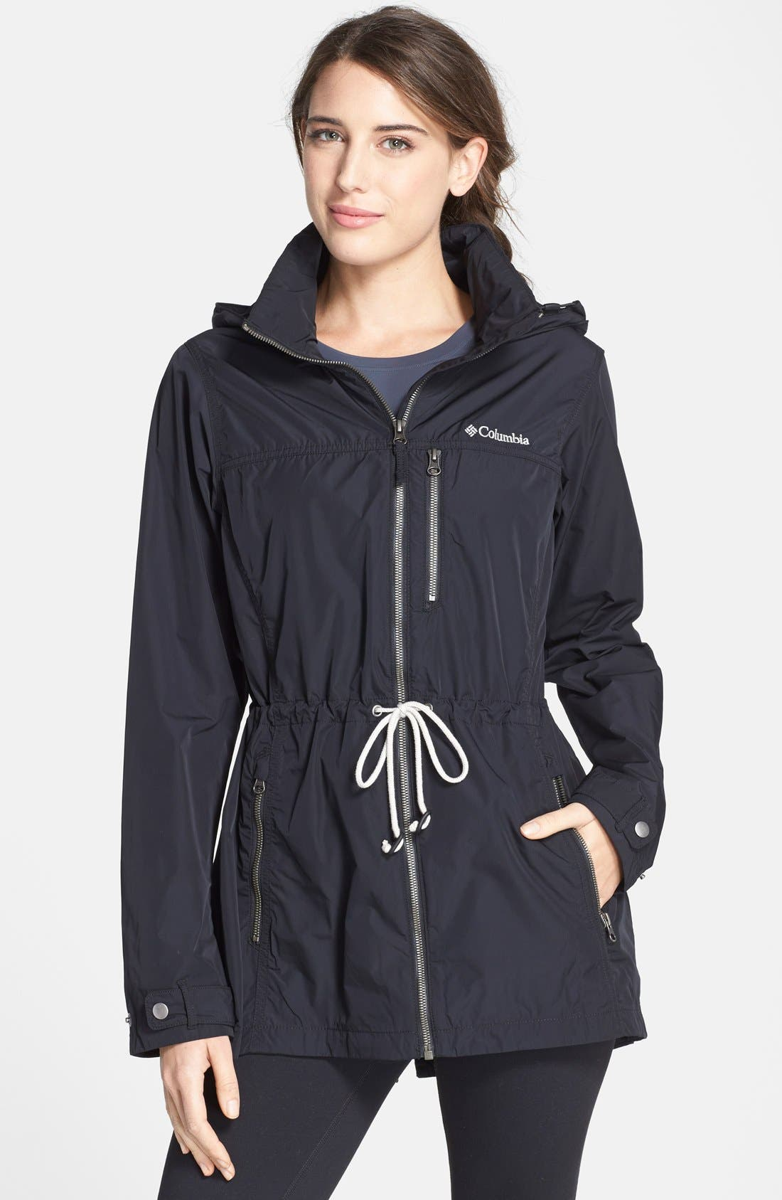'Suburbanizer' Water Resistant Front Zip Hooded Jacket,                             Main thumbnail 1, color,                             001