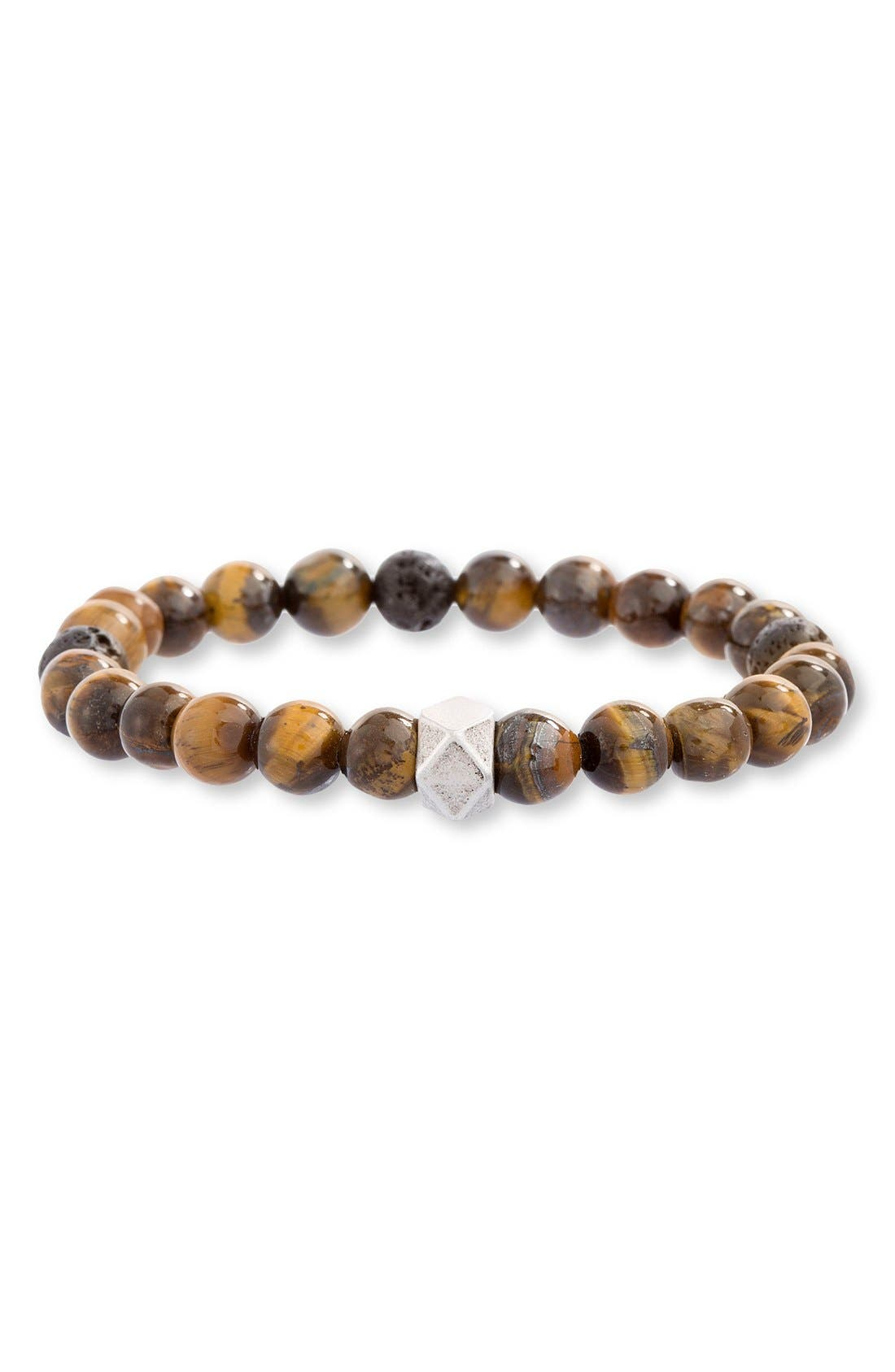 Tiger's Eye Bead Bracelet,                         Main,                         color, BROWN