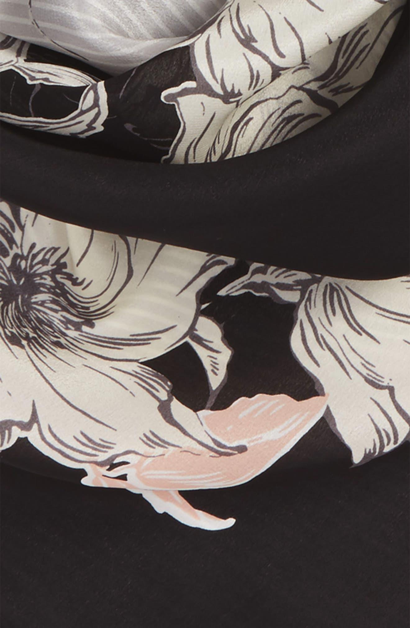 Metro Floral Square Silk Scarf,                             Alternate thumbnail 3, color,                             001