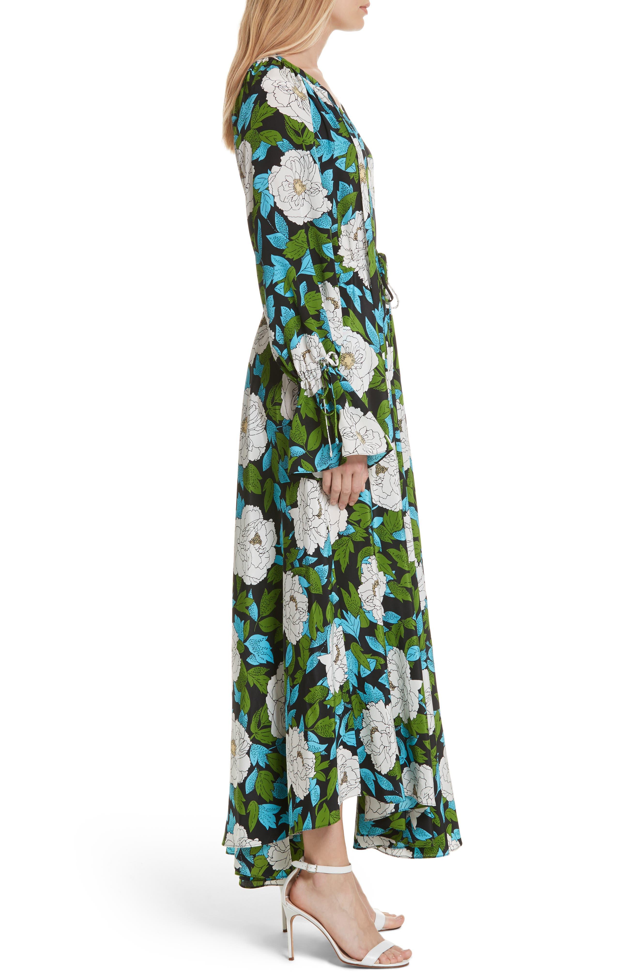 Diane von Furstenberg Floral Silk Maxi Dress,                             Alternate thumbnail 3, color,                             389