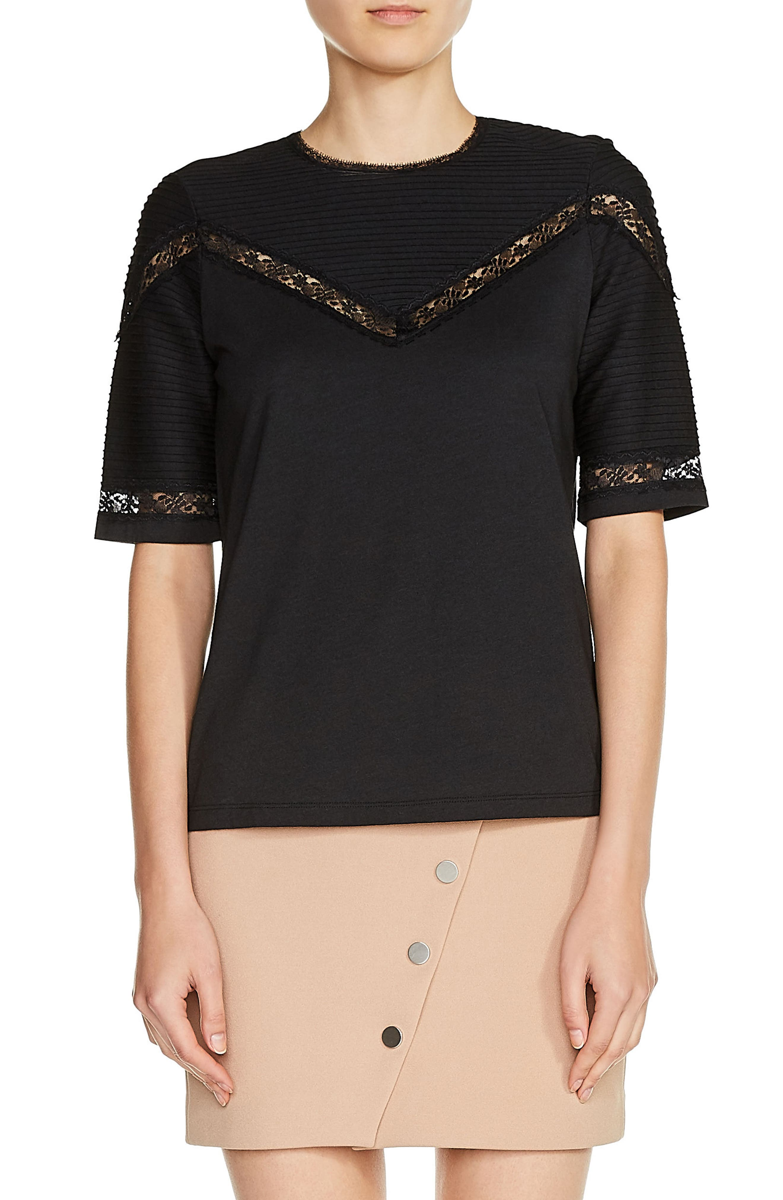 Lace Trim Pintuck Tee,                         Main,                         color, 001