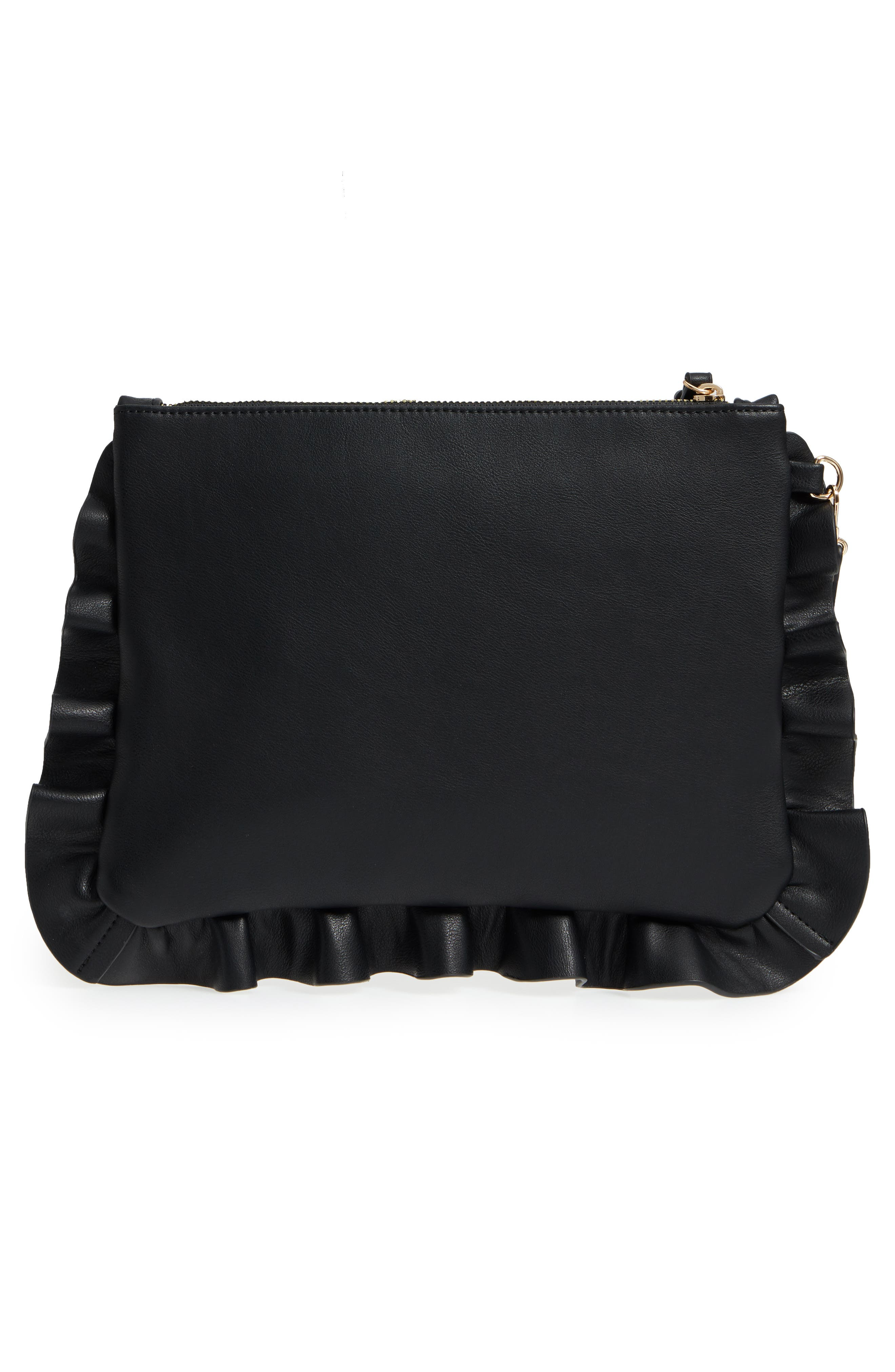 Adelina Faux Leather Ruffle Clutch,                             Alternate thumbnail 3, color,                             BLACK
