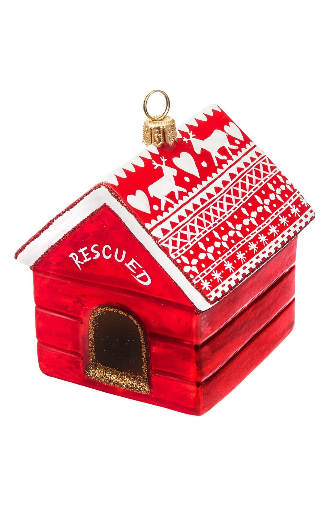Dog House Ornament,                         Main,                         color, RESCUED