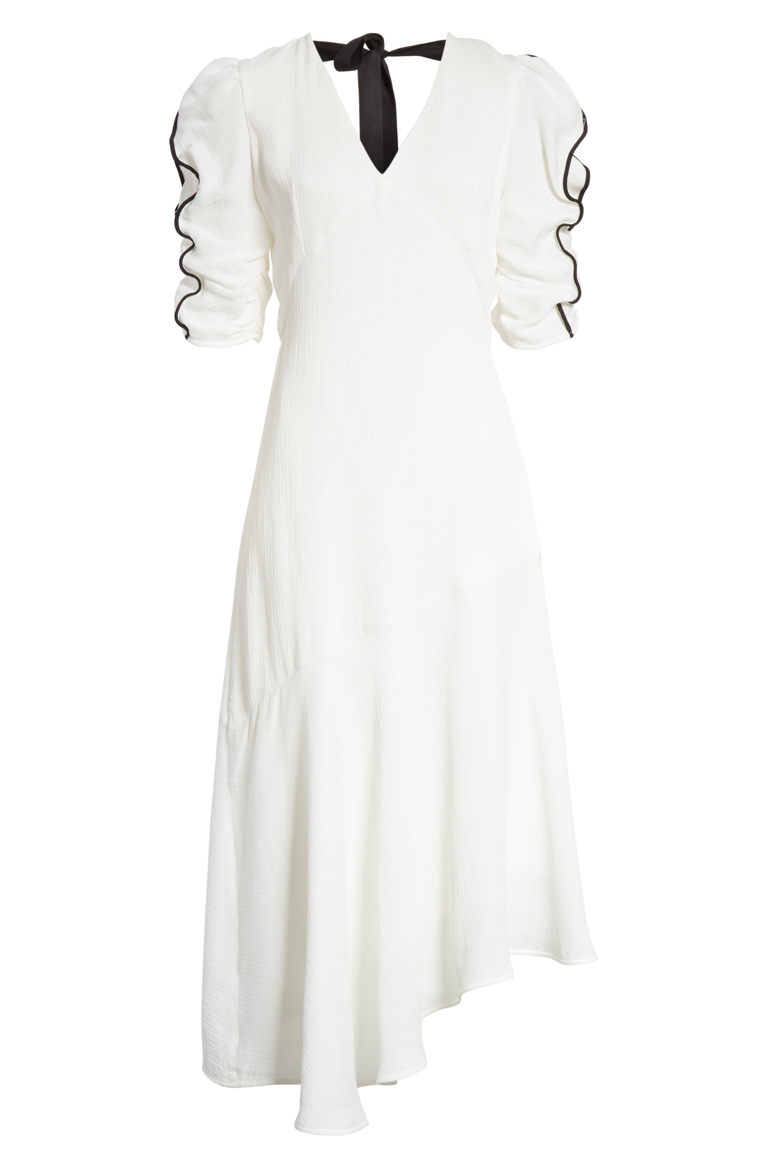 Prose & Poetry Shirley Ruffle Sleeve Midi Dress,                             Alternate thumbnail 6, color,                             101