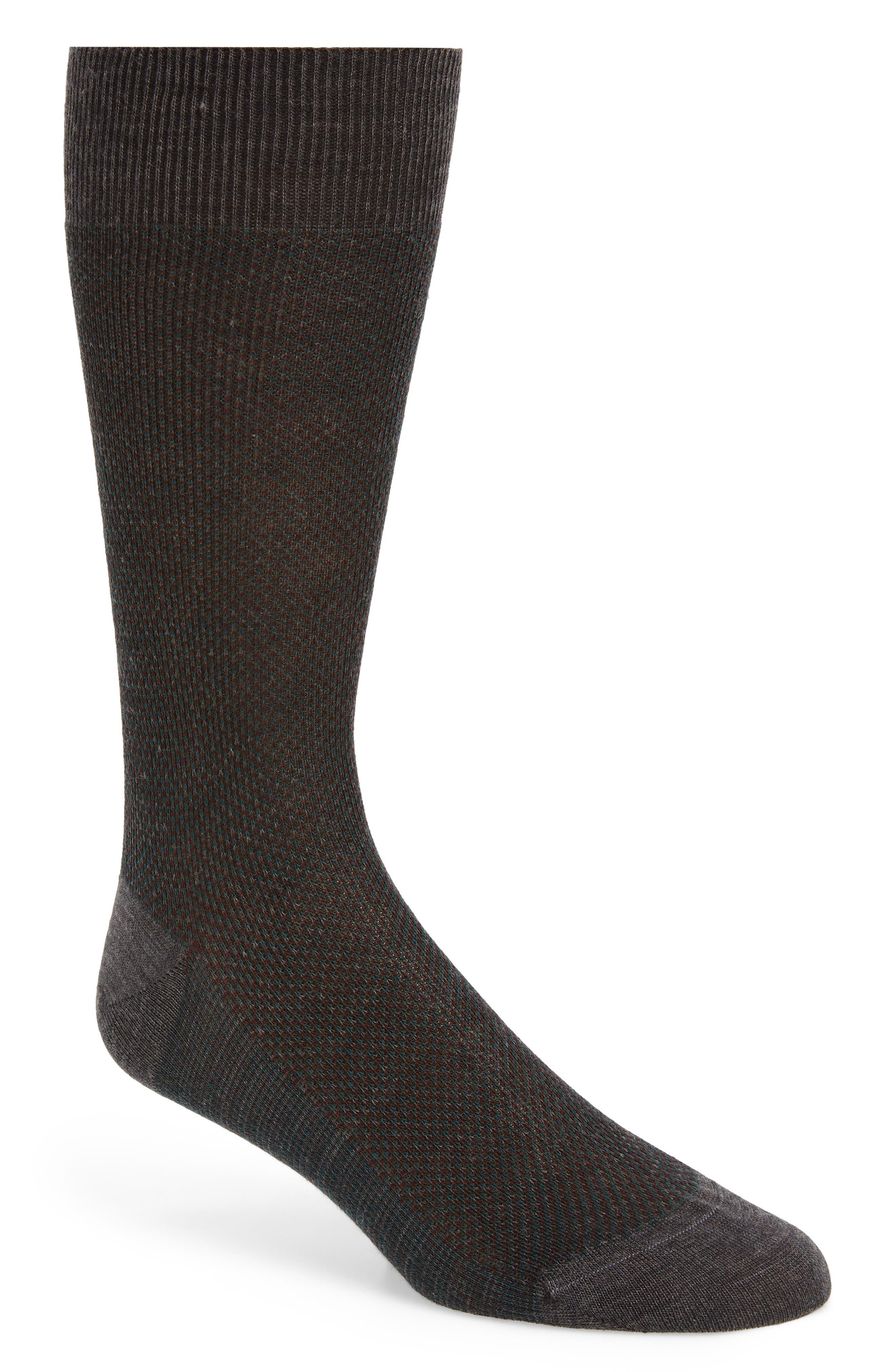 'Vintage Collection - Blenheim' Merino Wool Blend Socks,                             Main thumbnail 1, color,                             NEW DARK GREY MIX