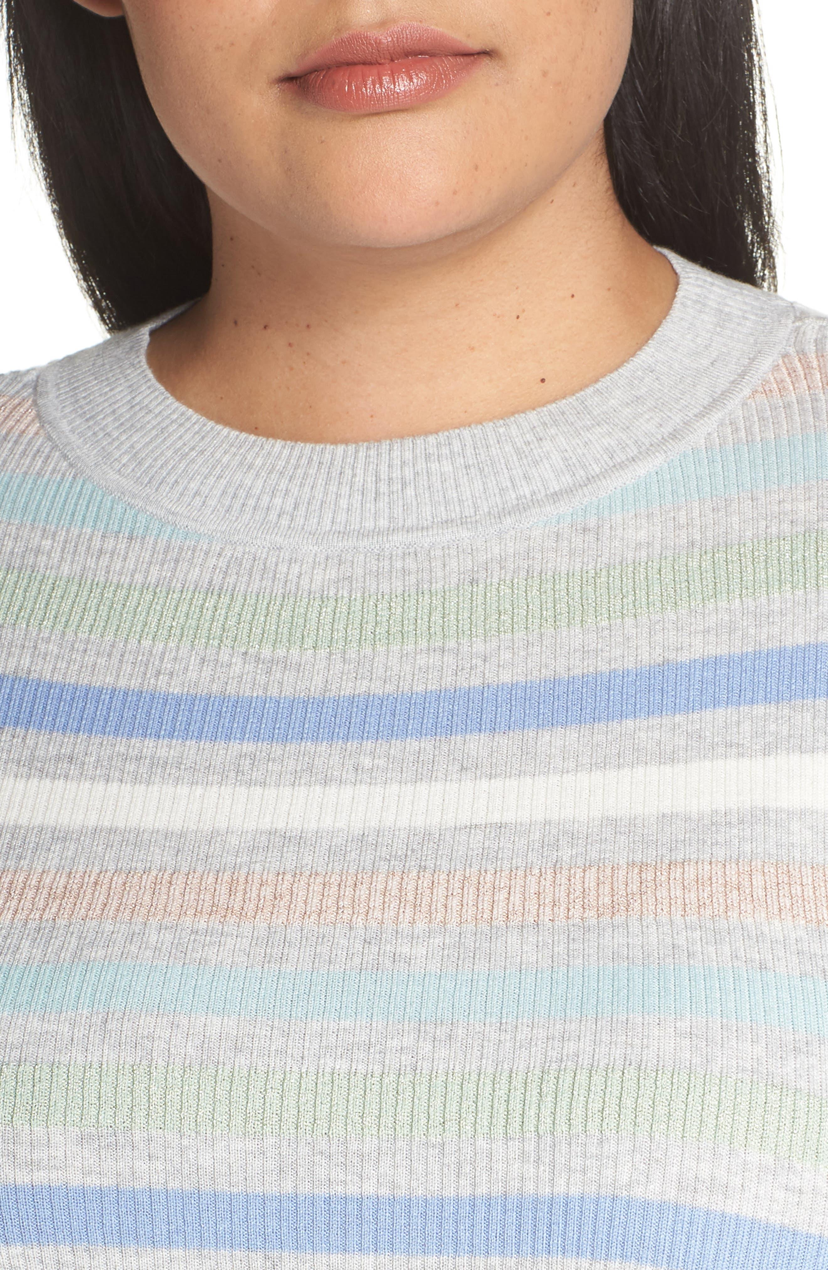 x Atlantic-Pacific Shimmer Stripe Sweater,                             Alternate thumbnail 4, color,                             GREY MULTI STRIPE