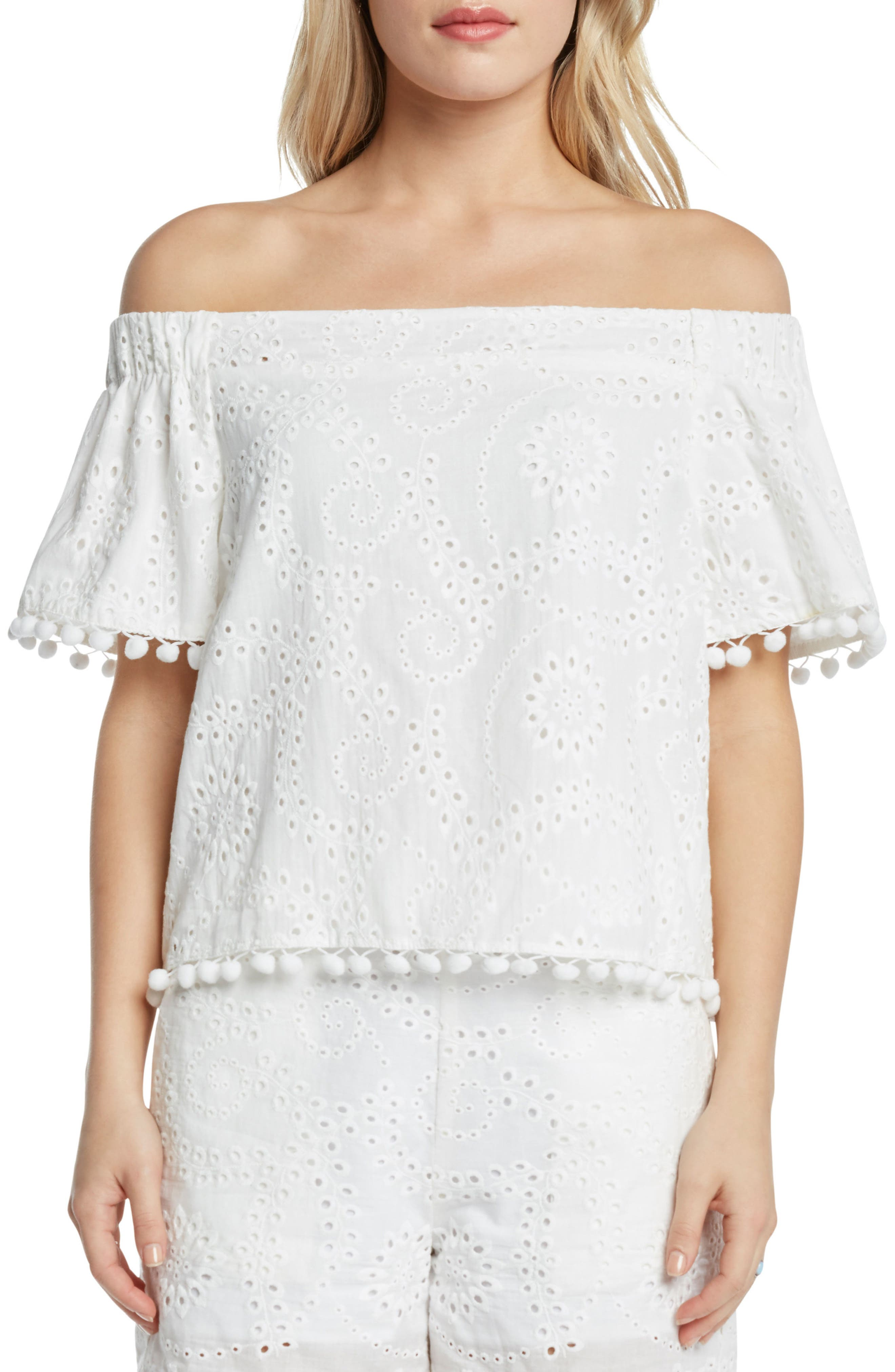 WILLOW & CLAY,                             Off the Shoulder Eyelet Top,                             Main thumbnail 1, color,                             106