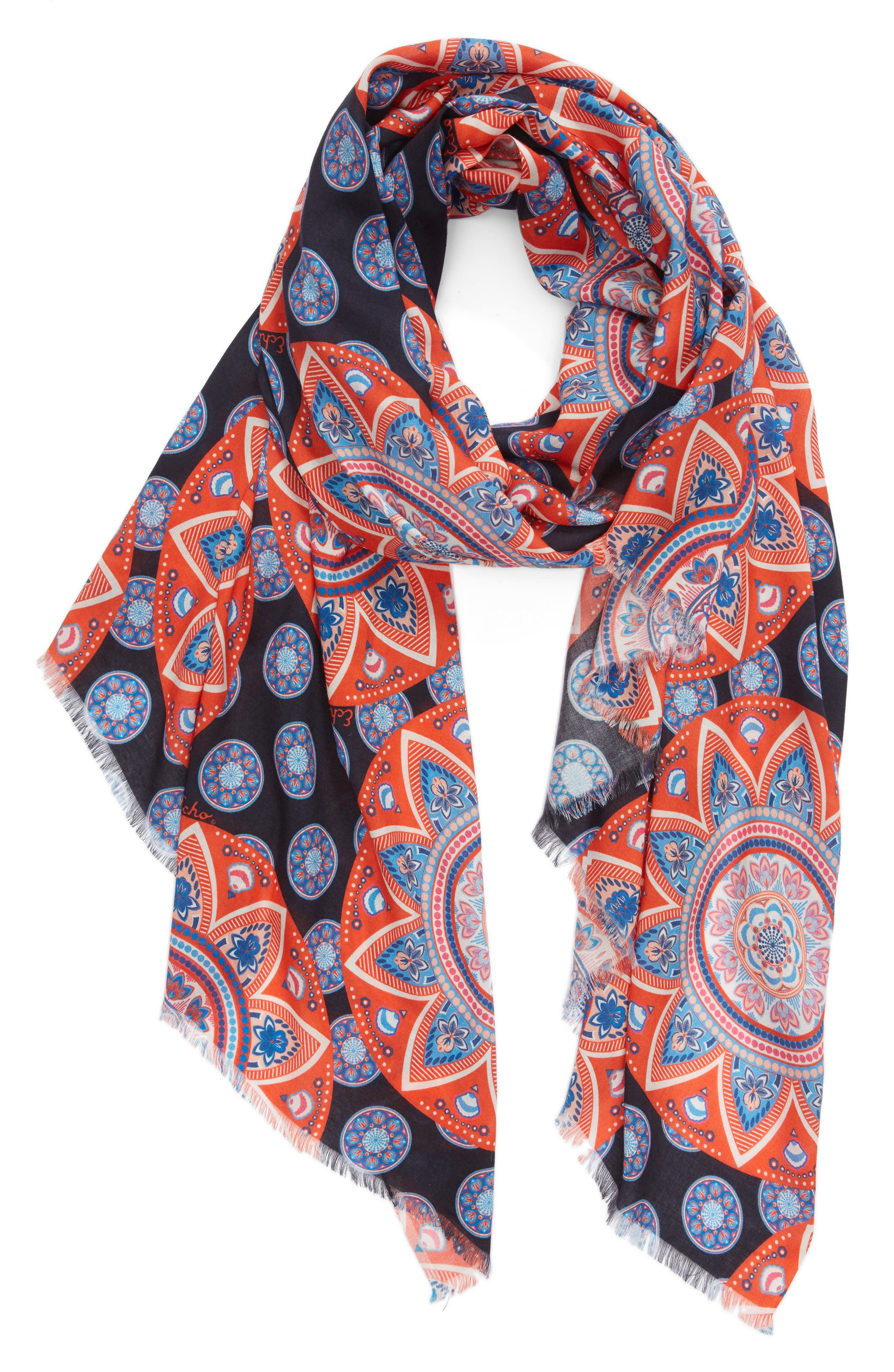 Floral Sea Medallion Scarf,                             Alternate thumbnail 2, color,                             411
