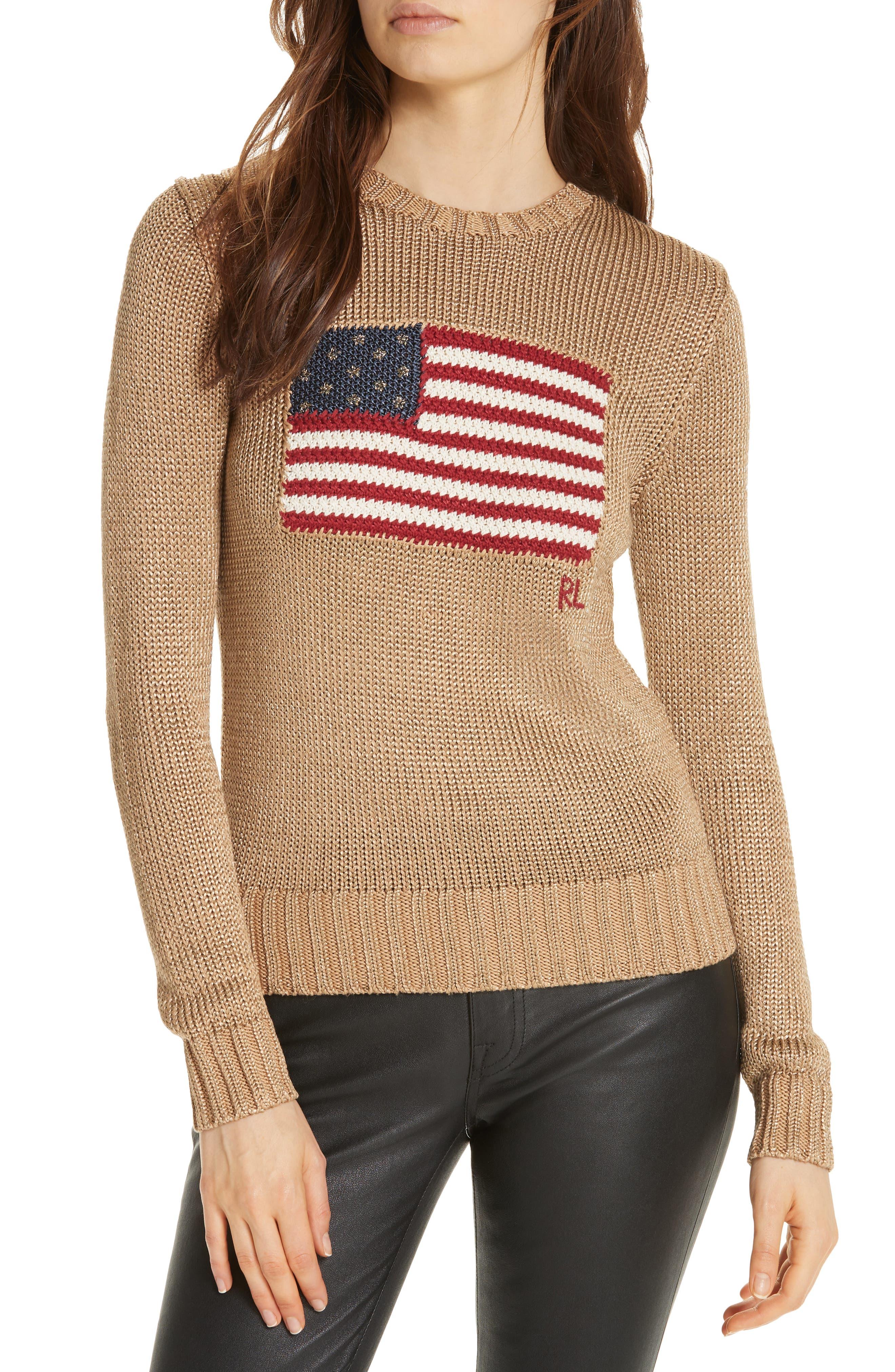 Metallic Cotton Blend Flag Sweater,                         Main,                         color, GOLD MULTI