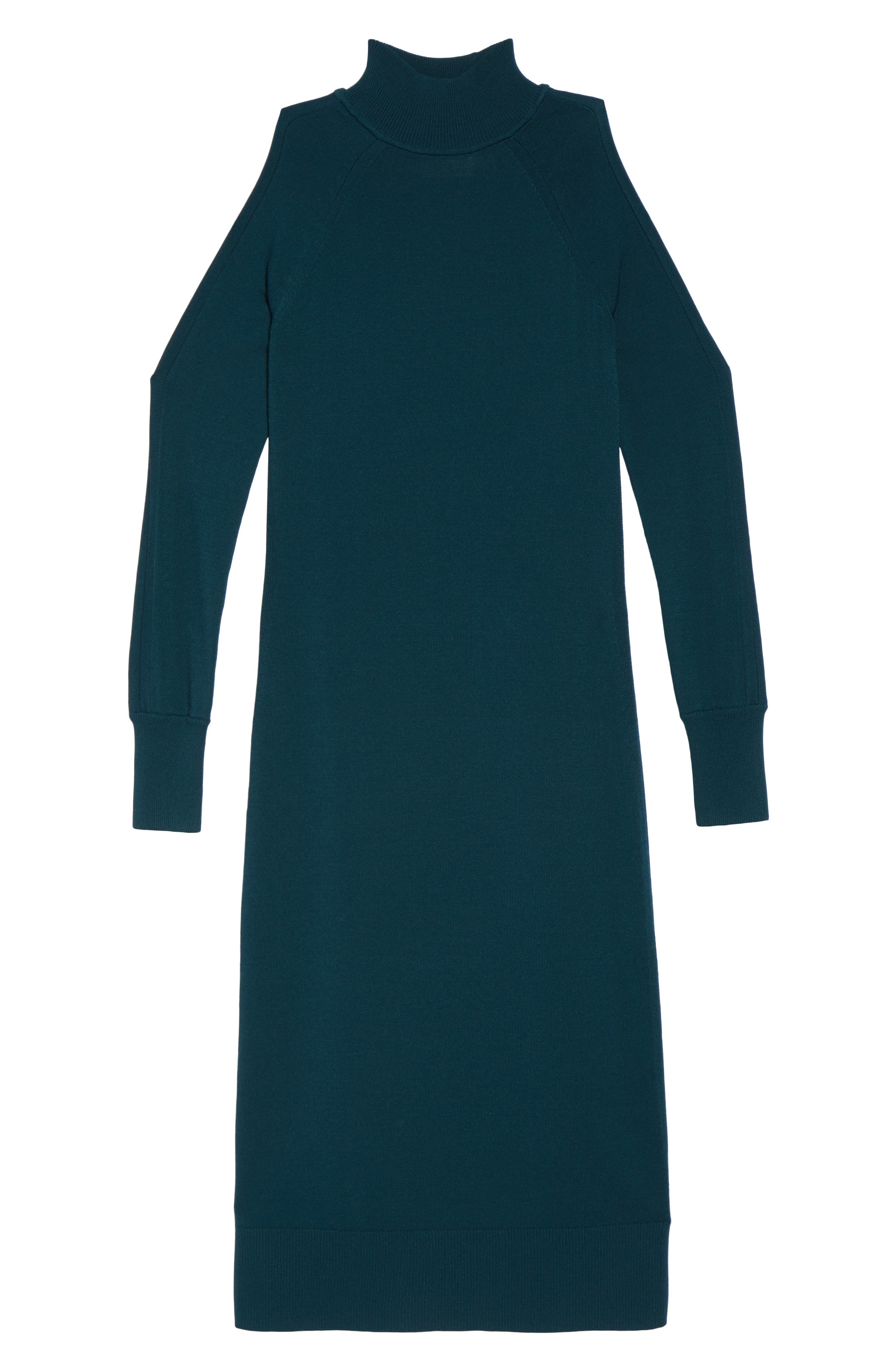 Cold Shoulder Turtleneck Dress,                             Alternate thumbnail 6, color,