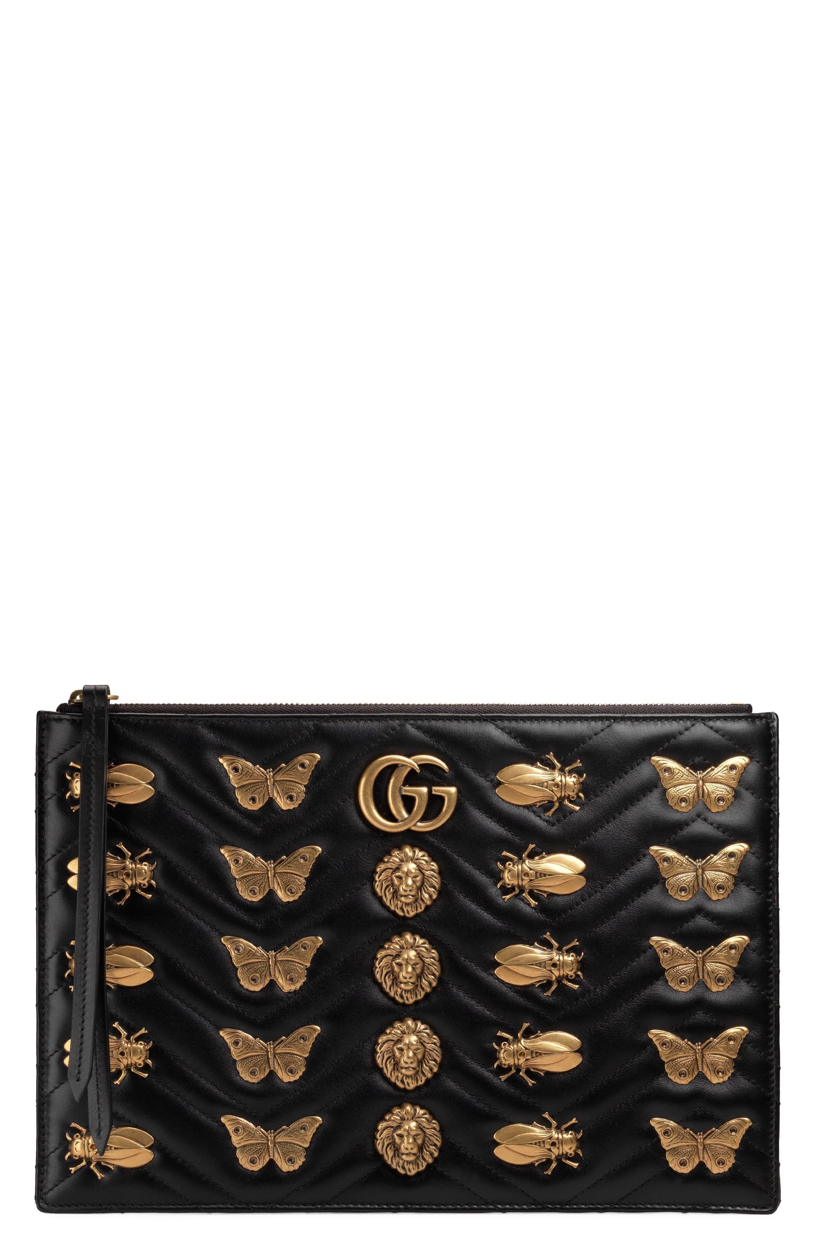 GG Marmont 2.0 Animal Stud Matelassé Leather Pouch,                         Main,                         color,