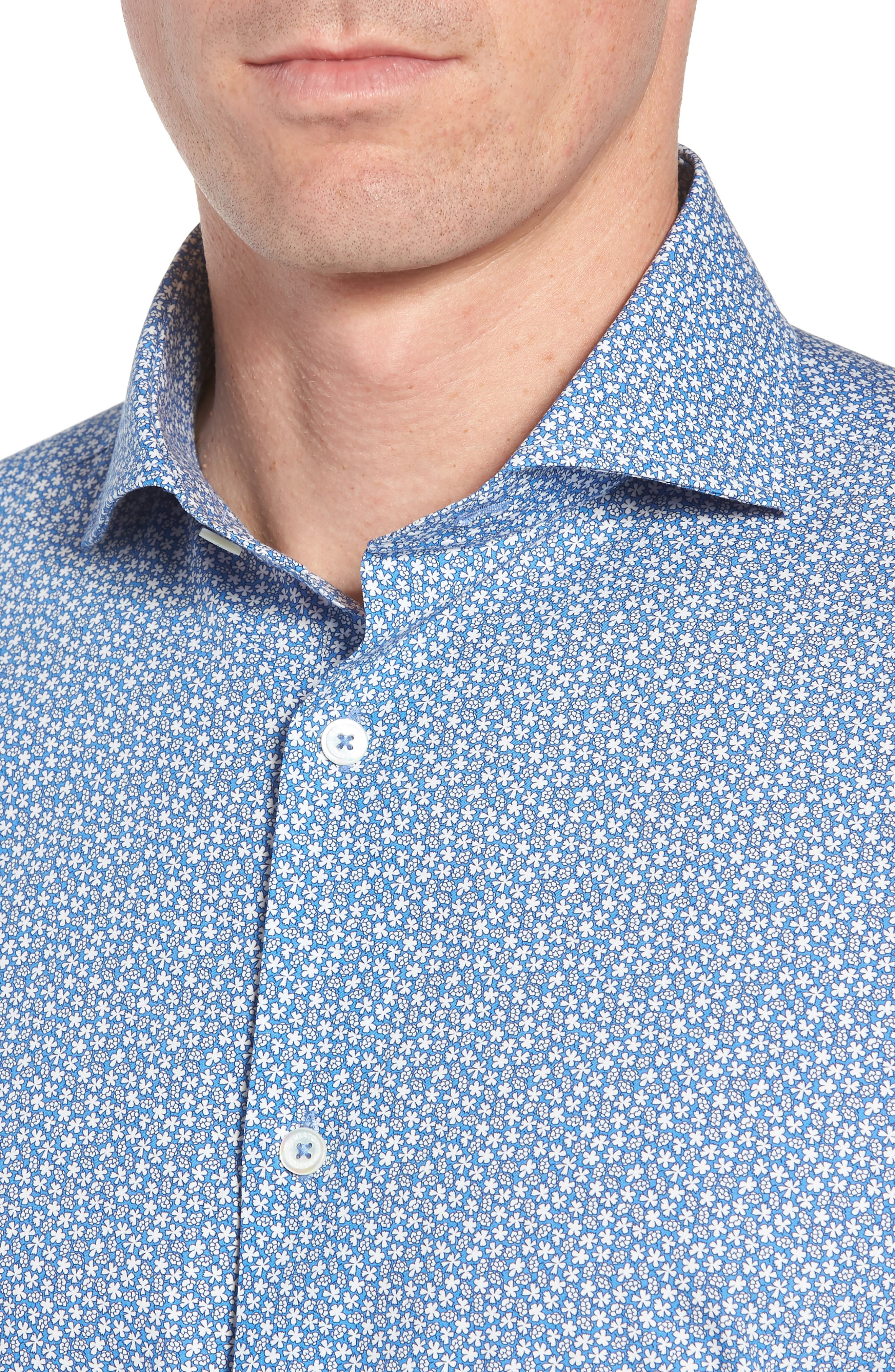 Trim Fit Print Dress Shirt,                             Alternate thumbnail 2, color,                             CLASSIC BLUE