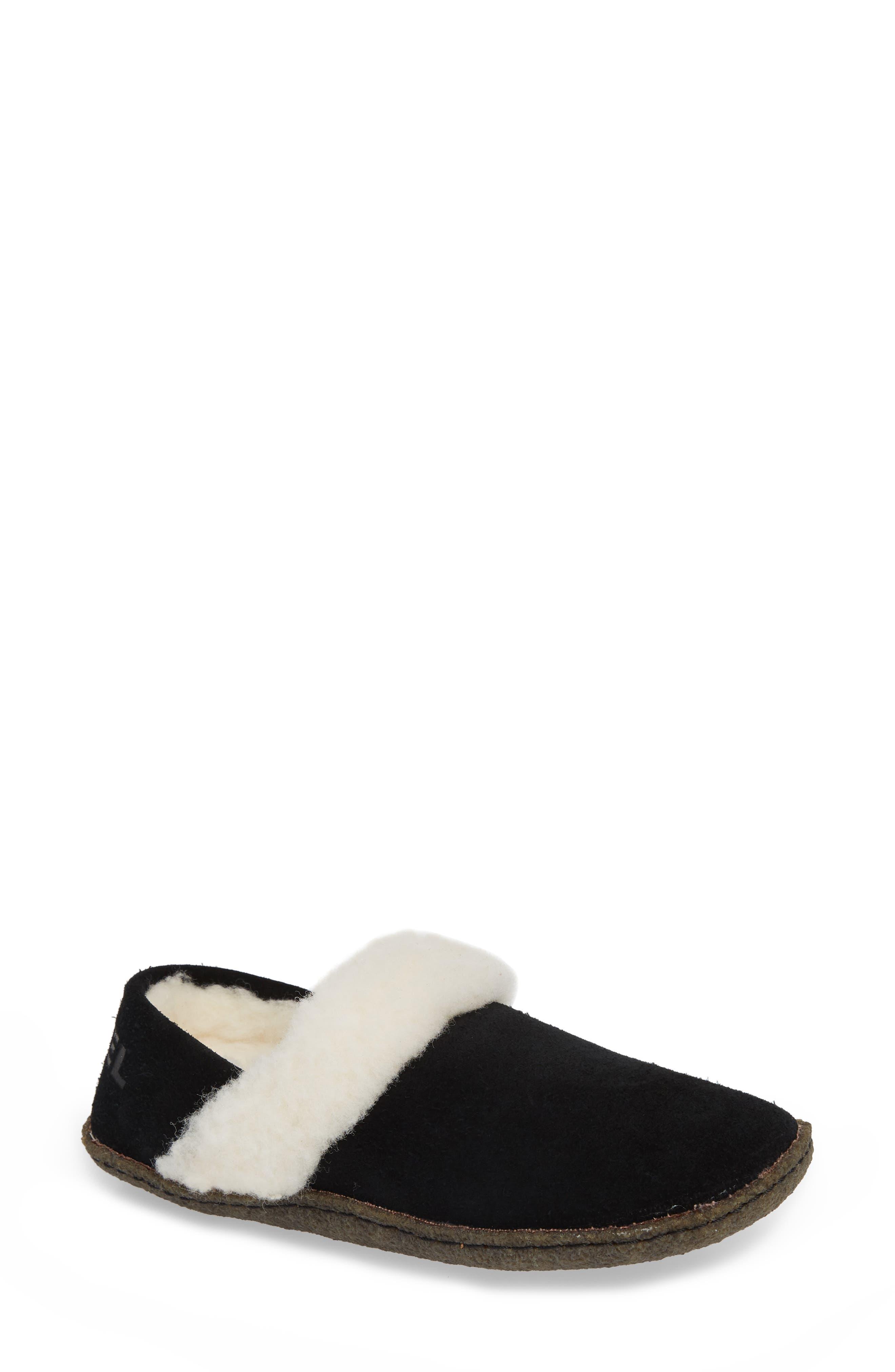 Nakiska II Faux Shearling Lined Slipper,                             Main thumbnail 1, color,                             BLACK/ NATURAL