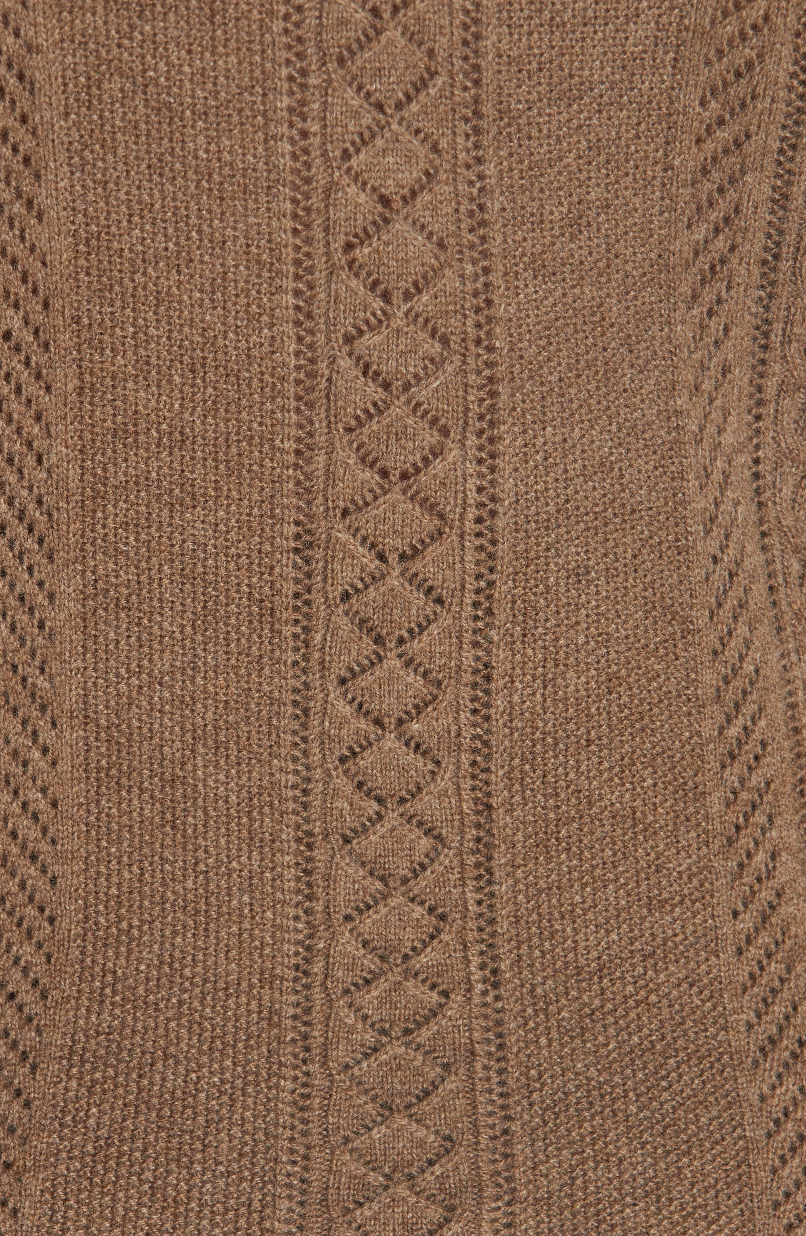 Ruffle Pointelle Sweater,                             Alternate thumbnail 5, color,                             LIGHT BROWN HEATHER