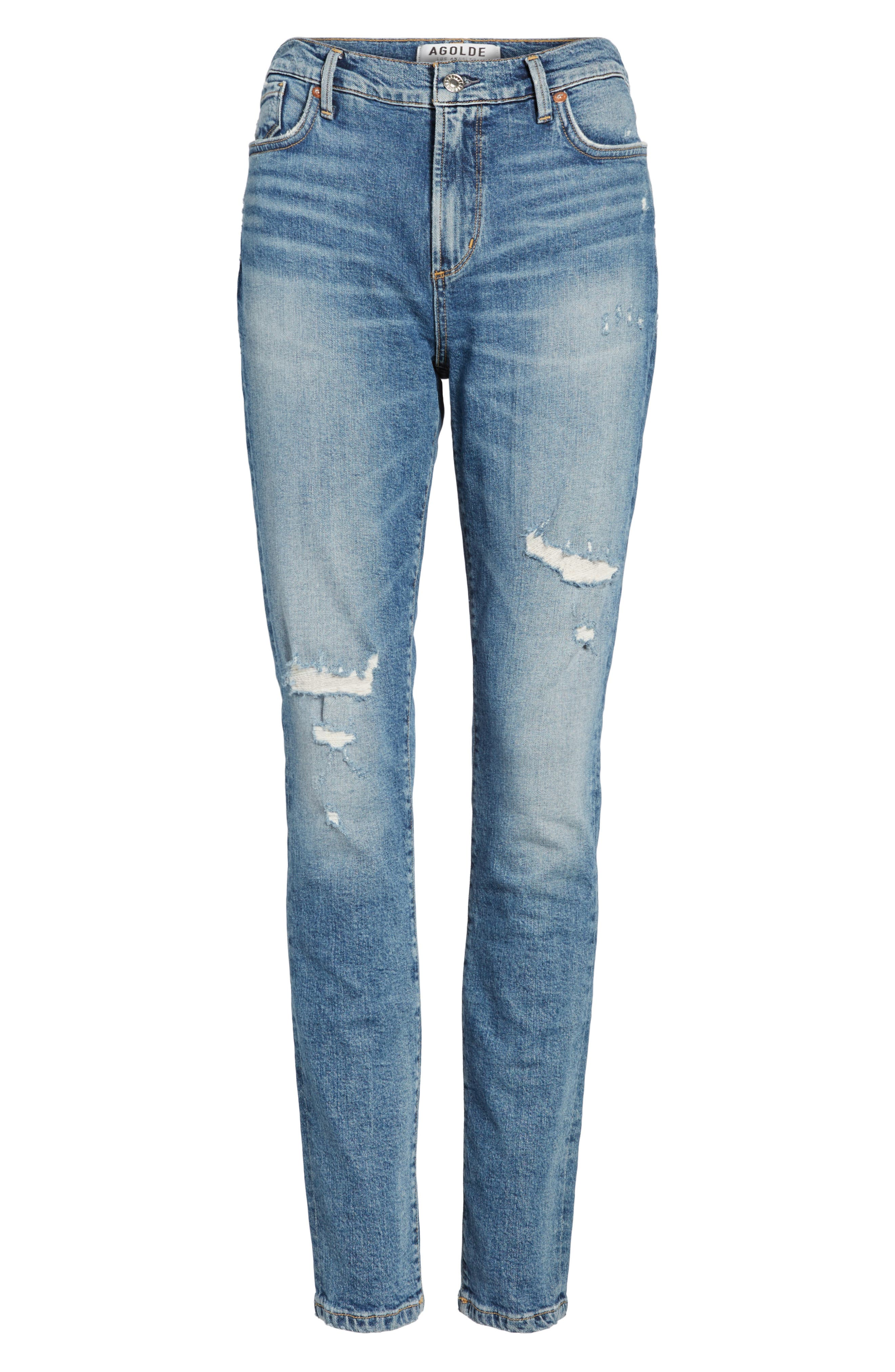 Sophie Distressed High Waist Skinny Jeans,                             Alternate thumbnail 7, color,