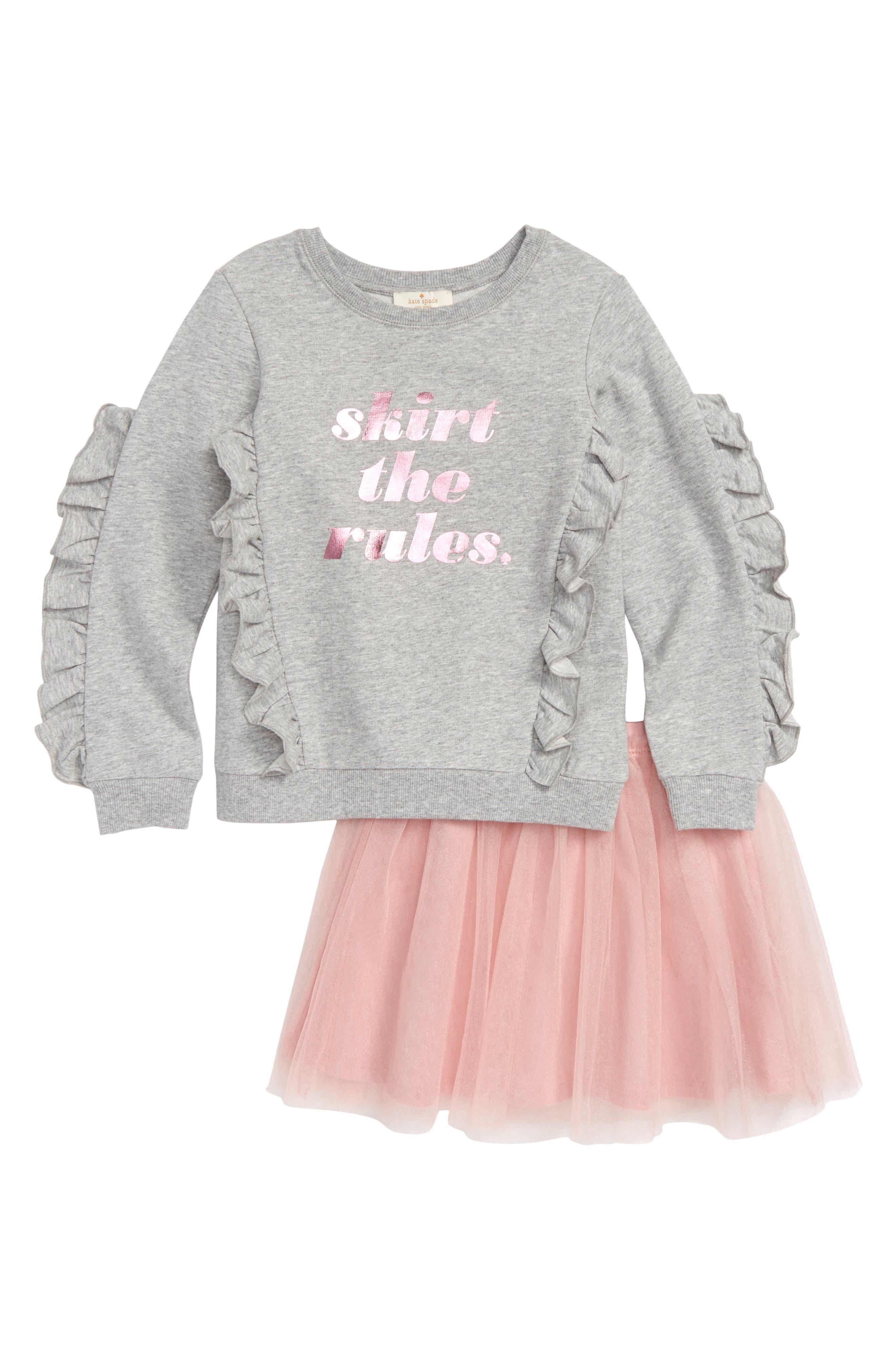 skirt the rules sweatshirt & tulle skirt set,                         Main,                         color, HEATHER GREY