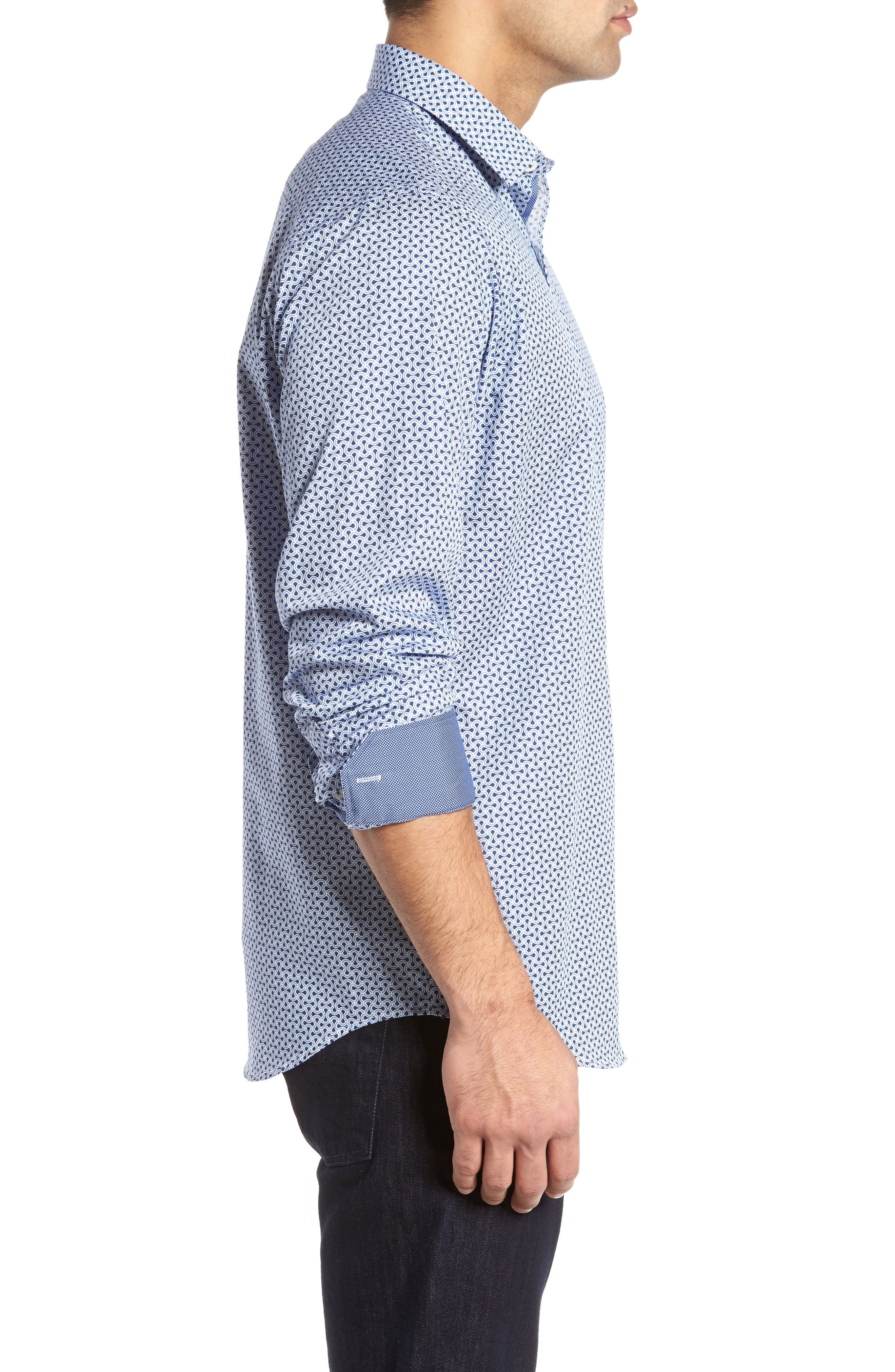 Classic Fit Print Sport Shirt,                             Alternate thumbnail 3, color,                             451