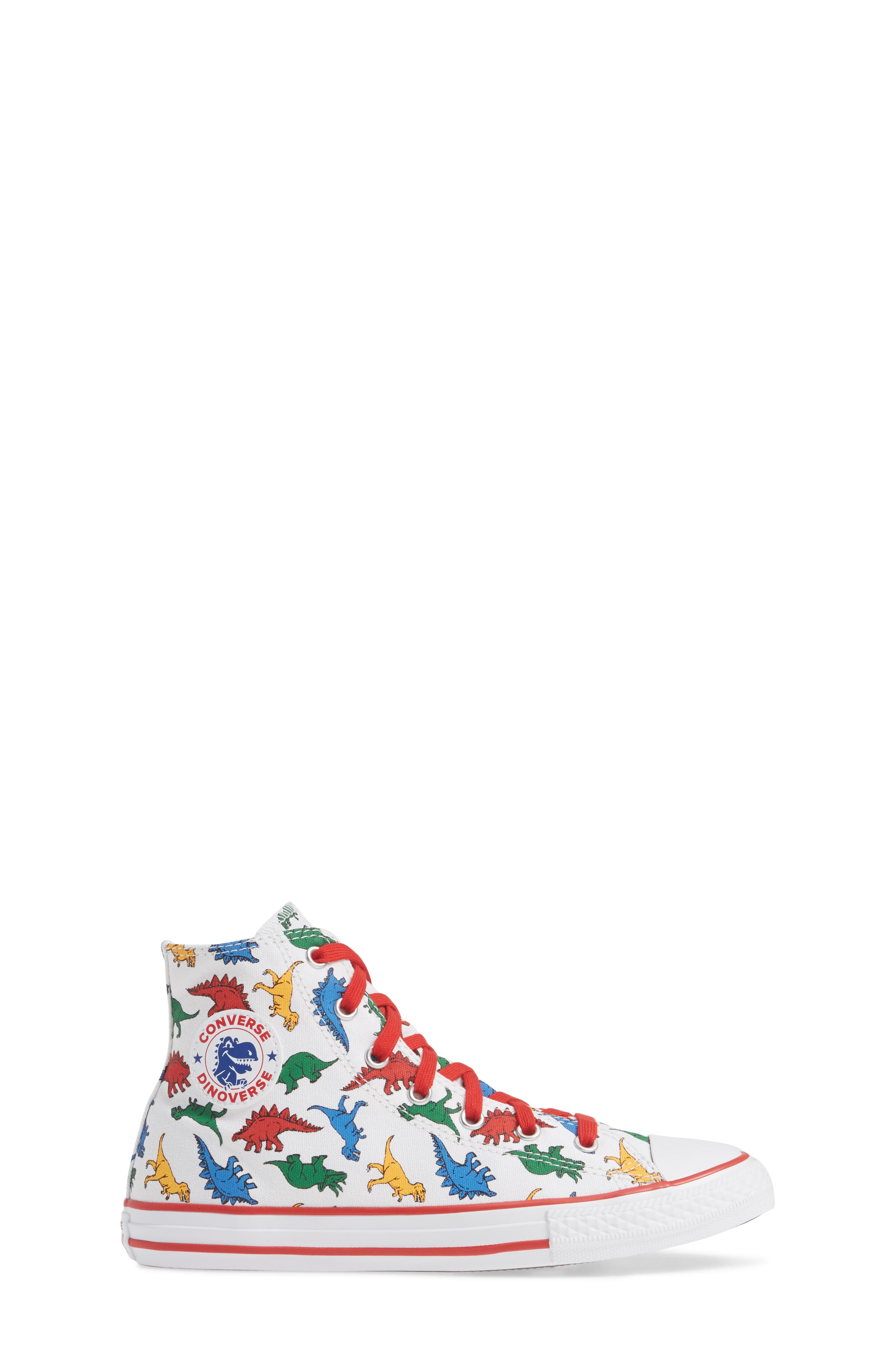 CONVERSE,                             Chuck Taylor<sup>®</sup> All Star<sup>®</sup> Dino High Top Sneaker,                             Alternate thumbnail 3, color,                             WHITE/ ENAMEL RED/ BLUE DINO