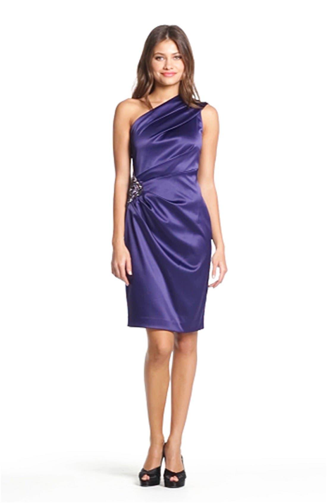 Beaded One-Shoulder Satin Dress,                             Alternate thumbnail 18, color,