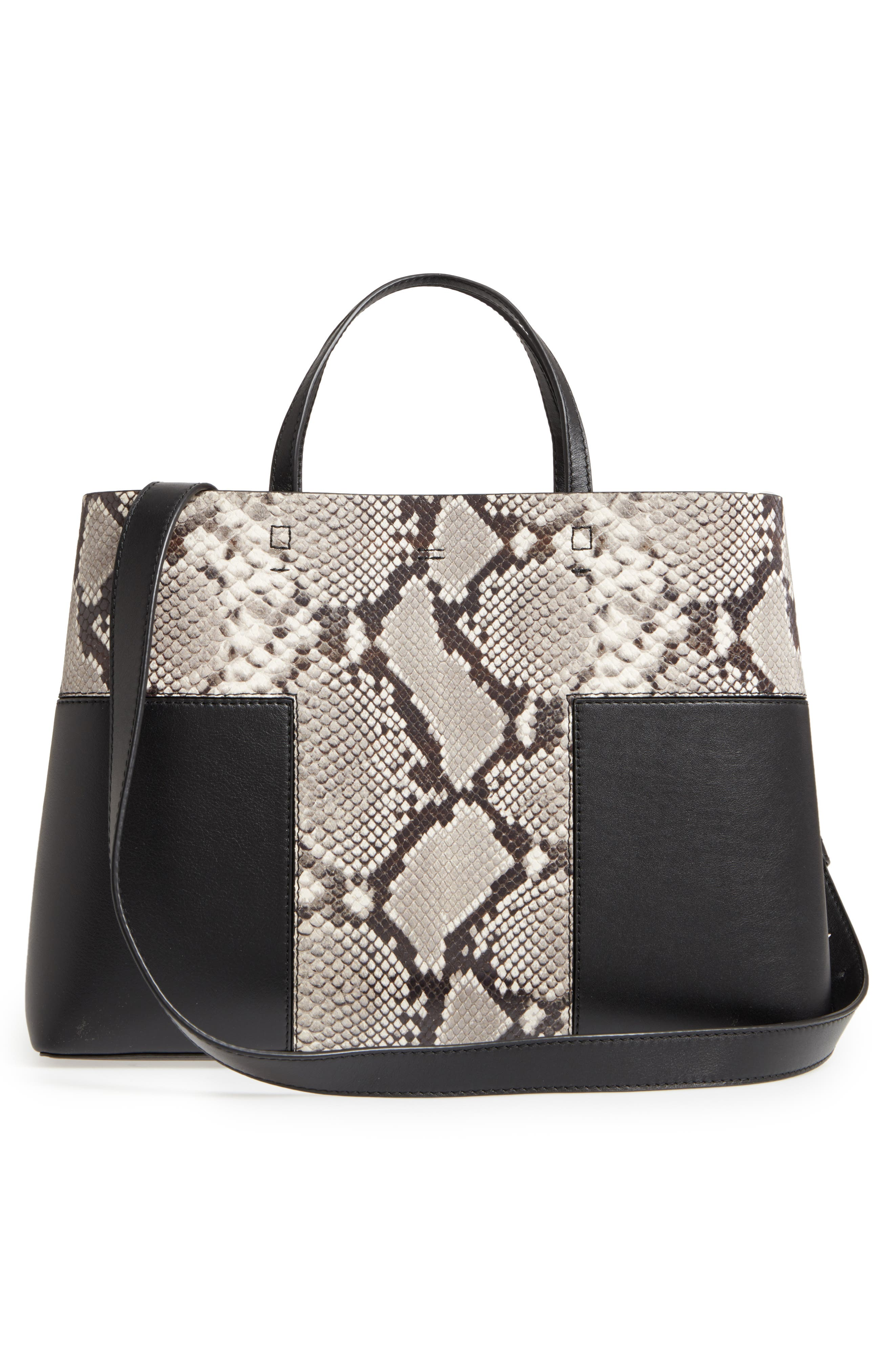 Block-T Snake Embossed Leather Tote,                             Alternate thumbnail 3, color,                             001