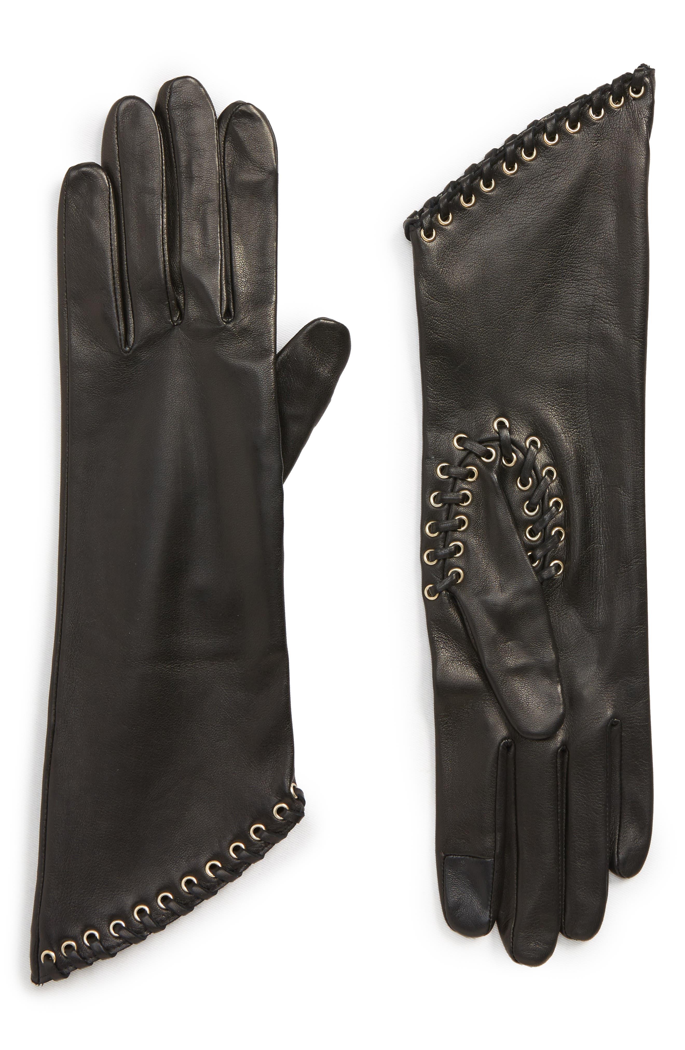 Agnelle Eyelet Lambskin Leather Gloves, Black