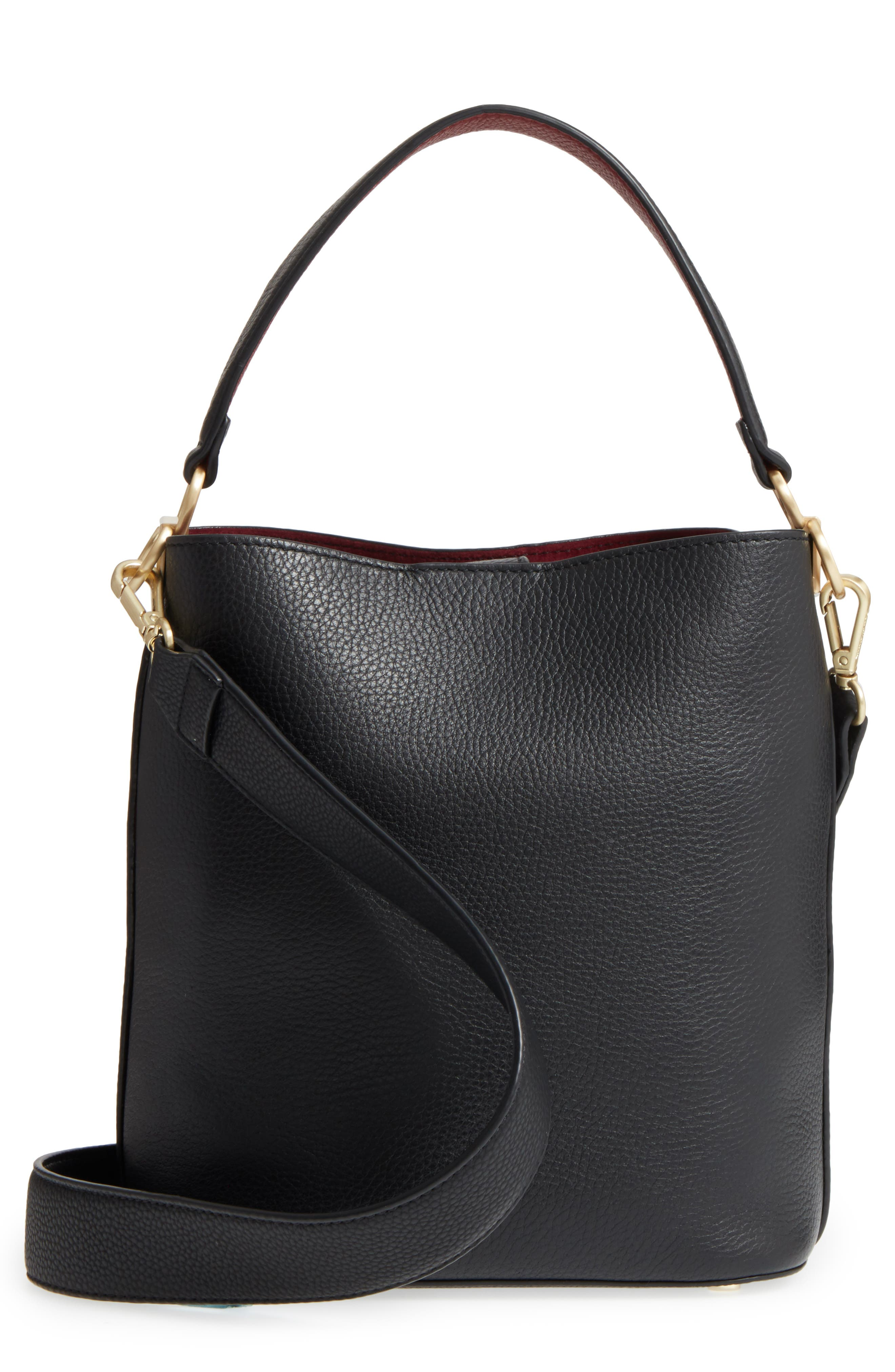 Small Nya Faux Leather Bucket Bag,                         Main,                         color, 001