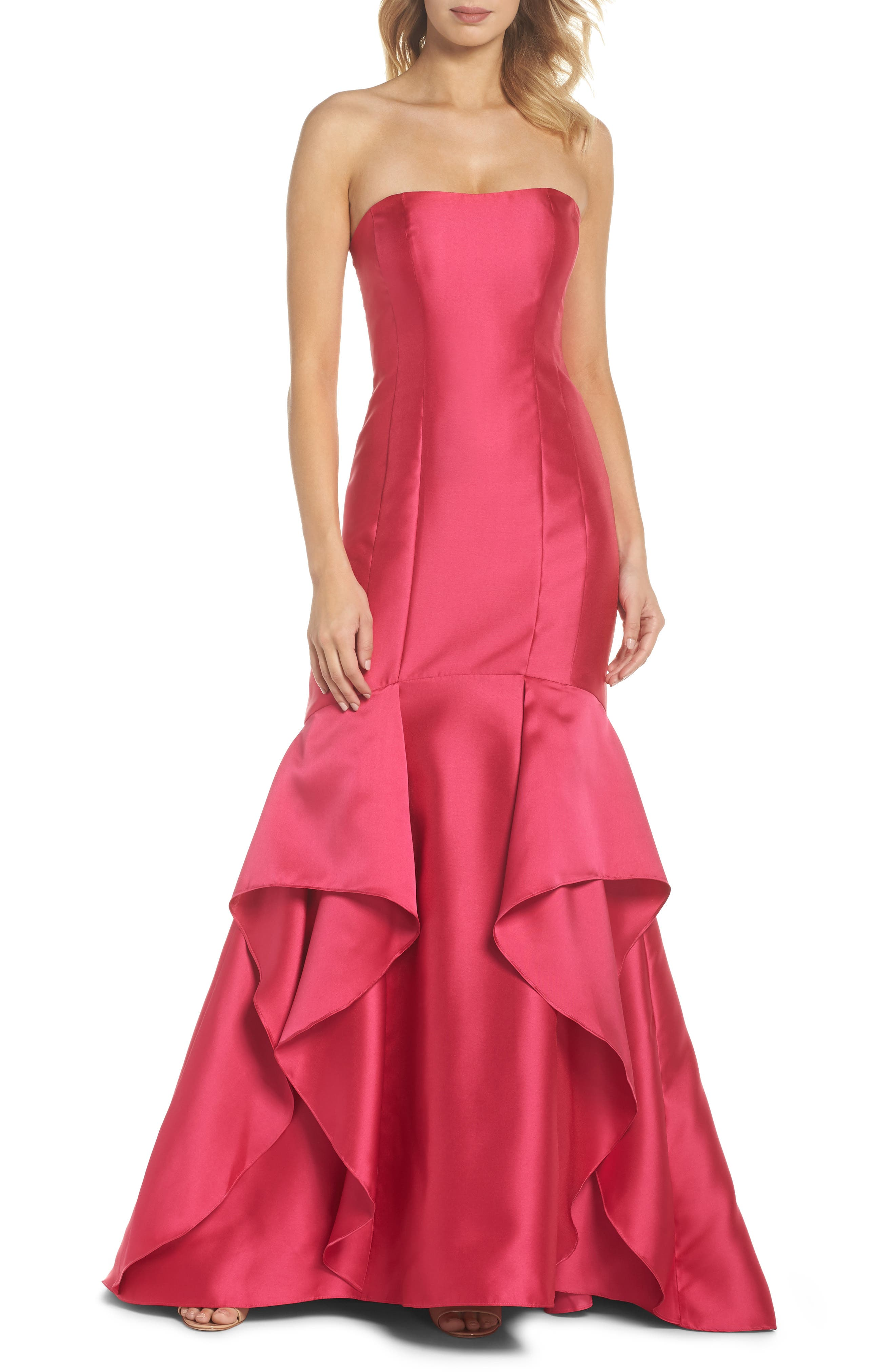 Strapless Mikado Gown,                         Main,                         color, 655
