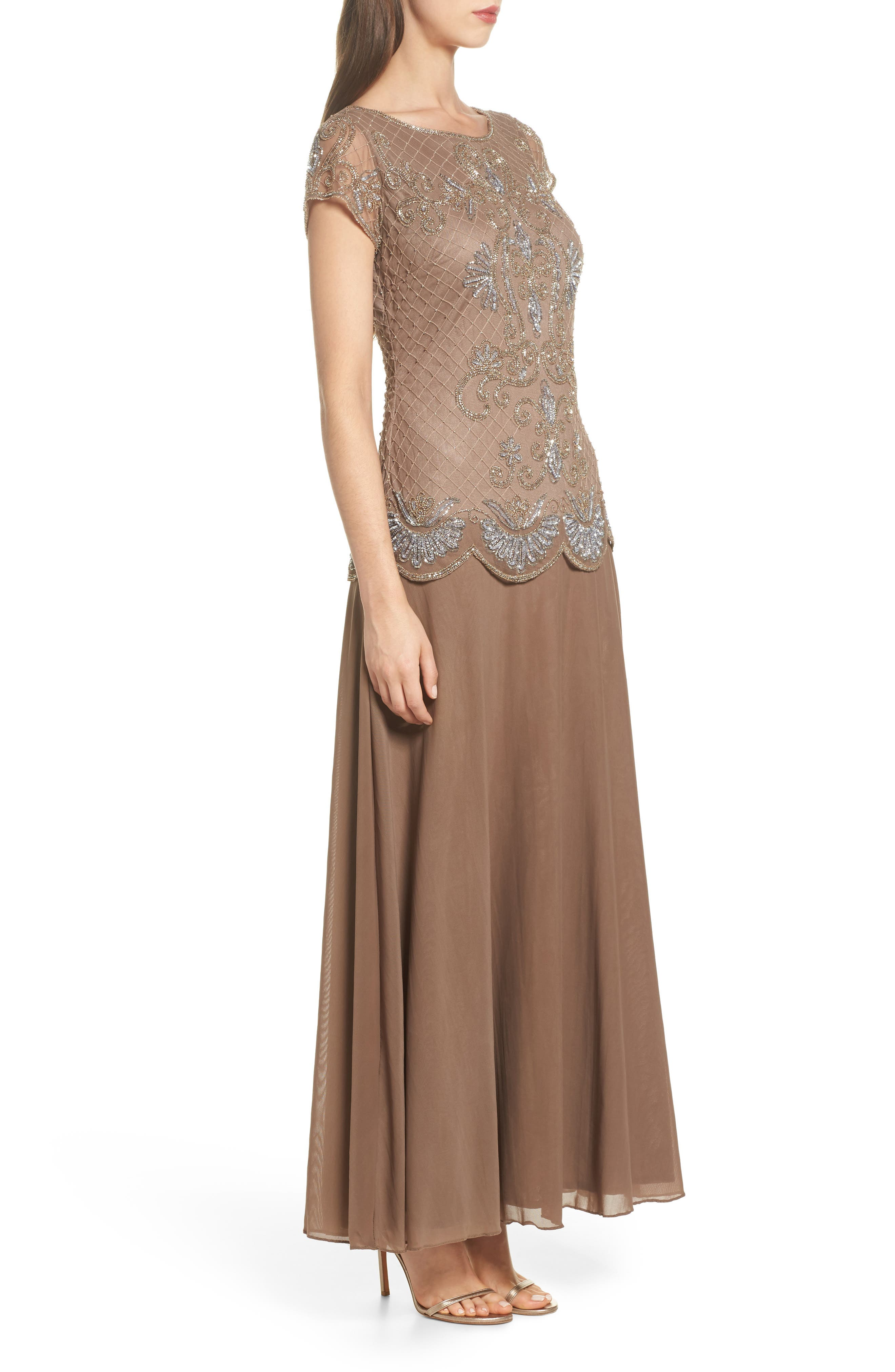Embellished Mock Two-Piece Gown,                             Alternate thumbnail 3, color,                             230