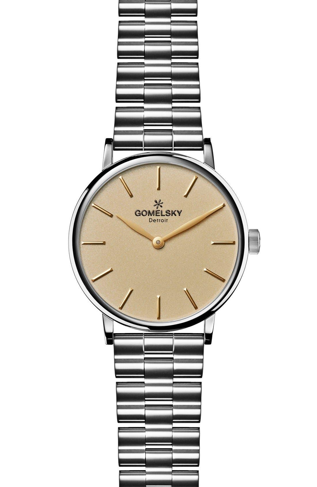 The Agnes Varis Bracelet Watch, 32mm,                             Main thumbnail 1, color,                             SILVER/ GOLD OPALINE