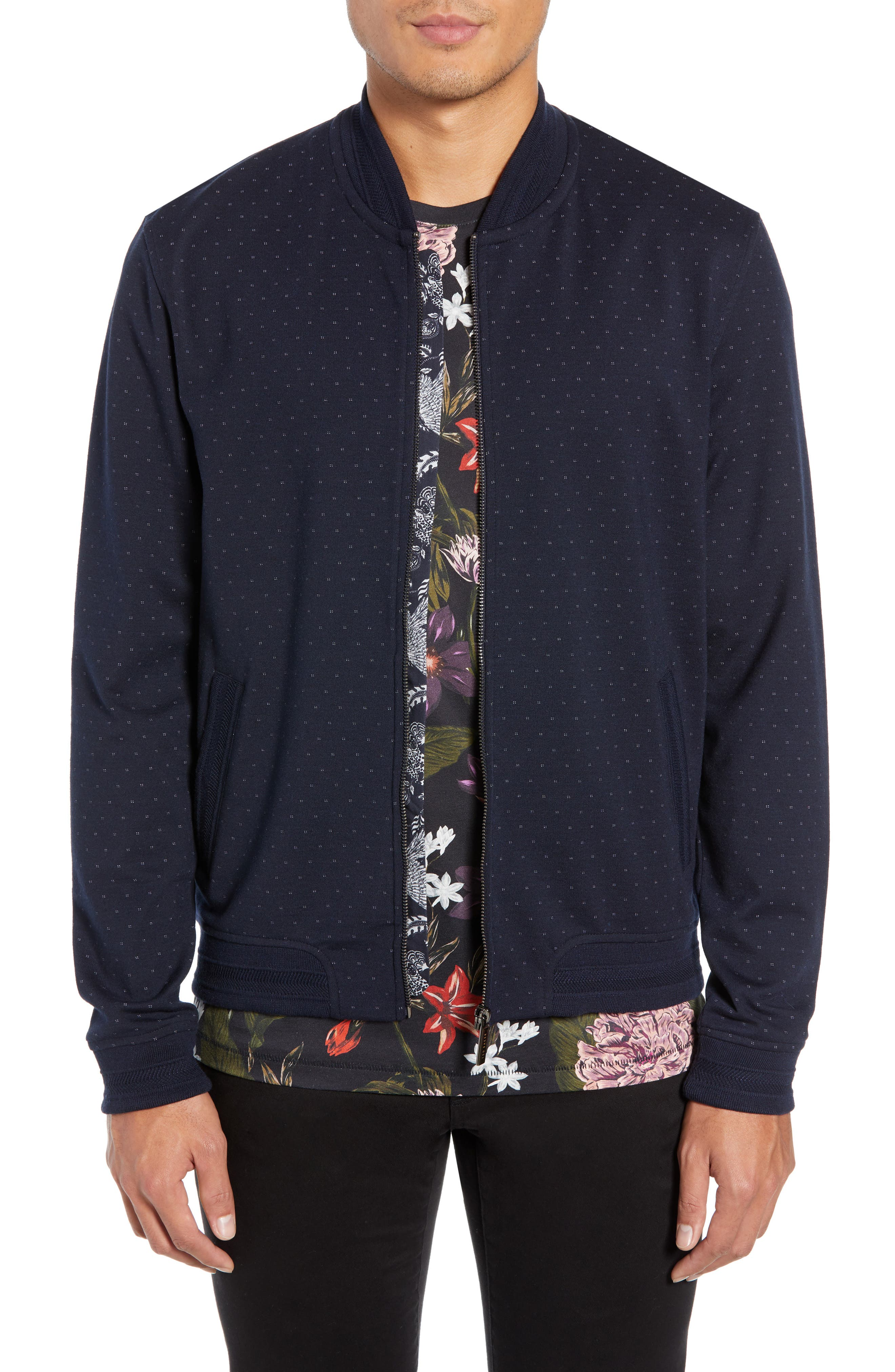 Ruubes Slim Fit Bird's Eye Knit Bomber Jacket,                         Main,                         color, NAVY