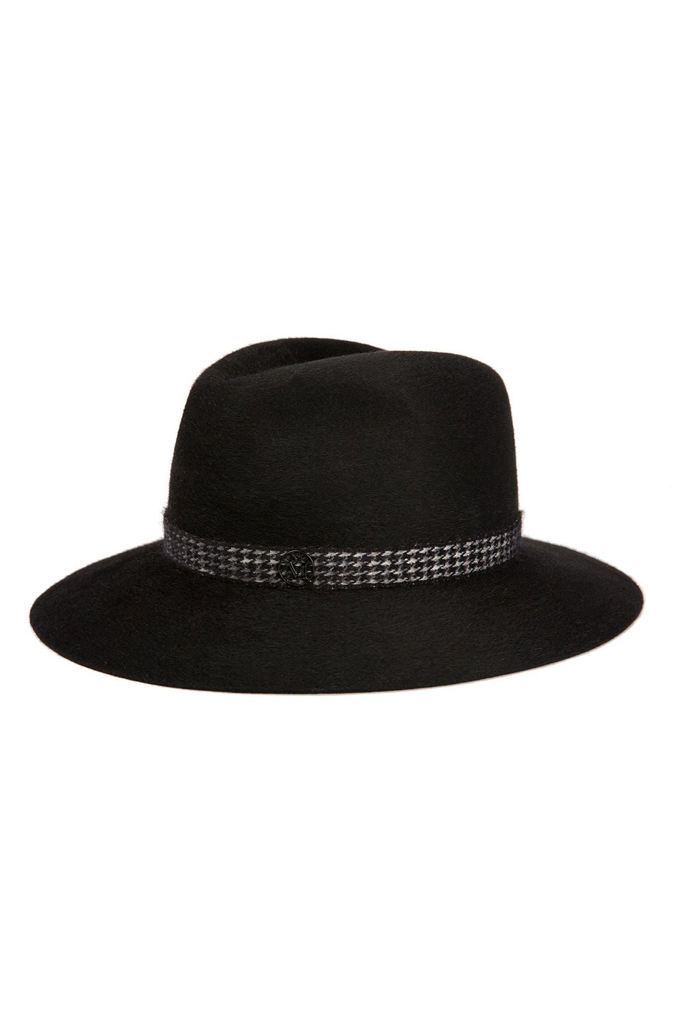 Henrietta Fur Felt Hat,                             Main thumbnail 1, color,                             BLACK