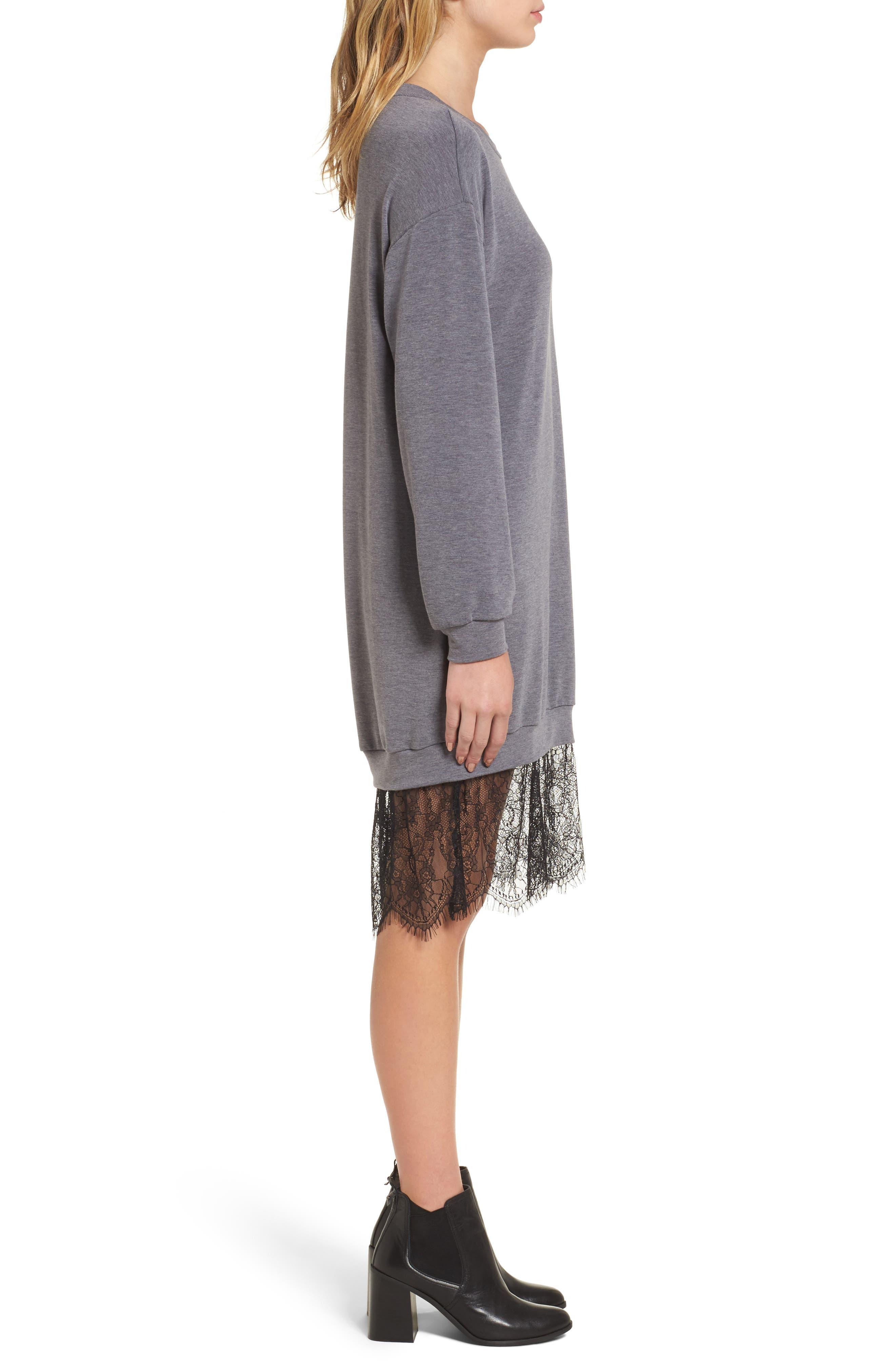 Lace Hem Sweatshirt Dress,                             Alternate thumbnail 3, color,                             002
