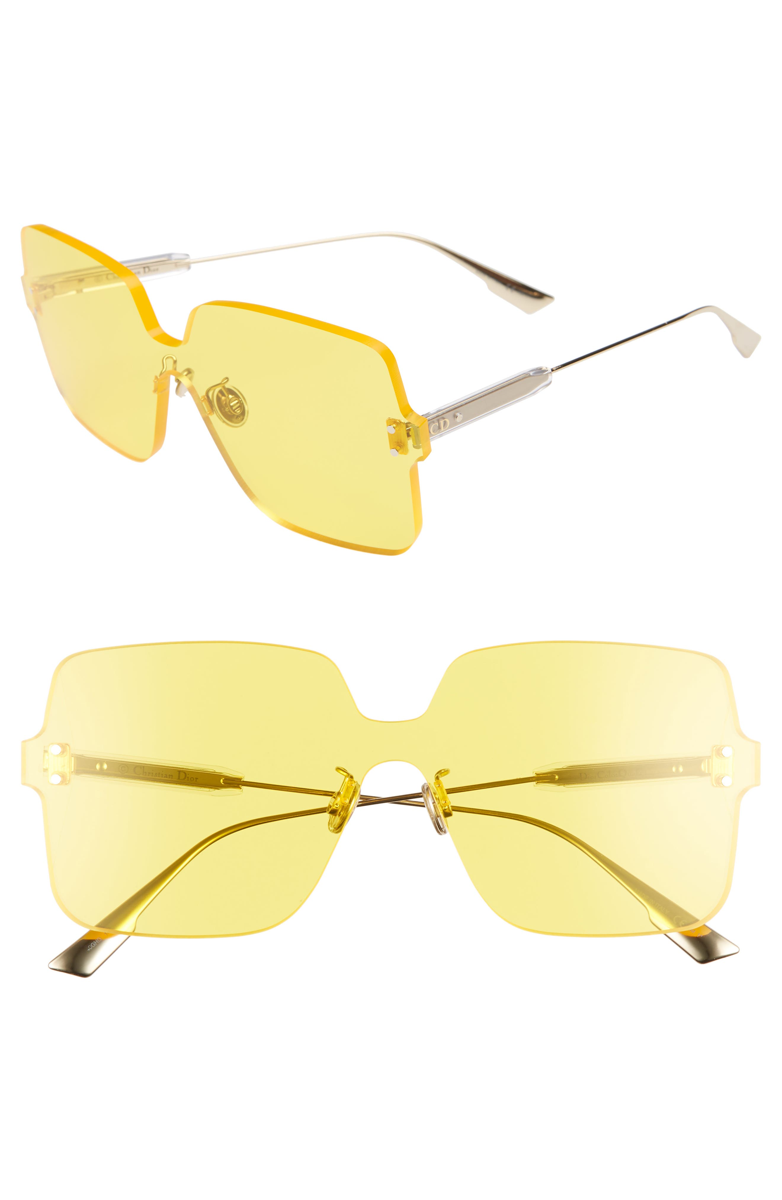 Christian Dior Quake1 147Mm Square Rimless Shield Sunglasses - Yellow