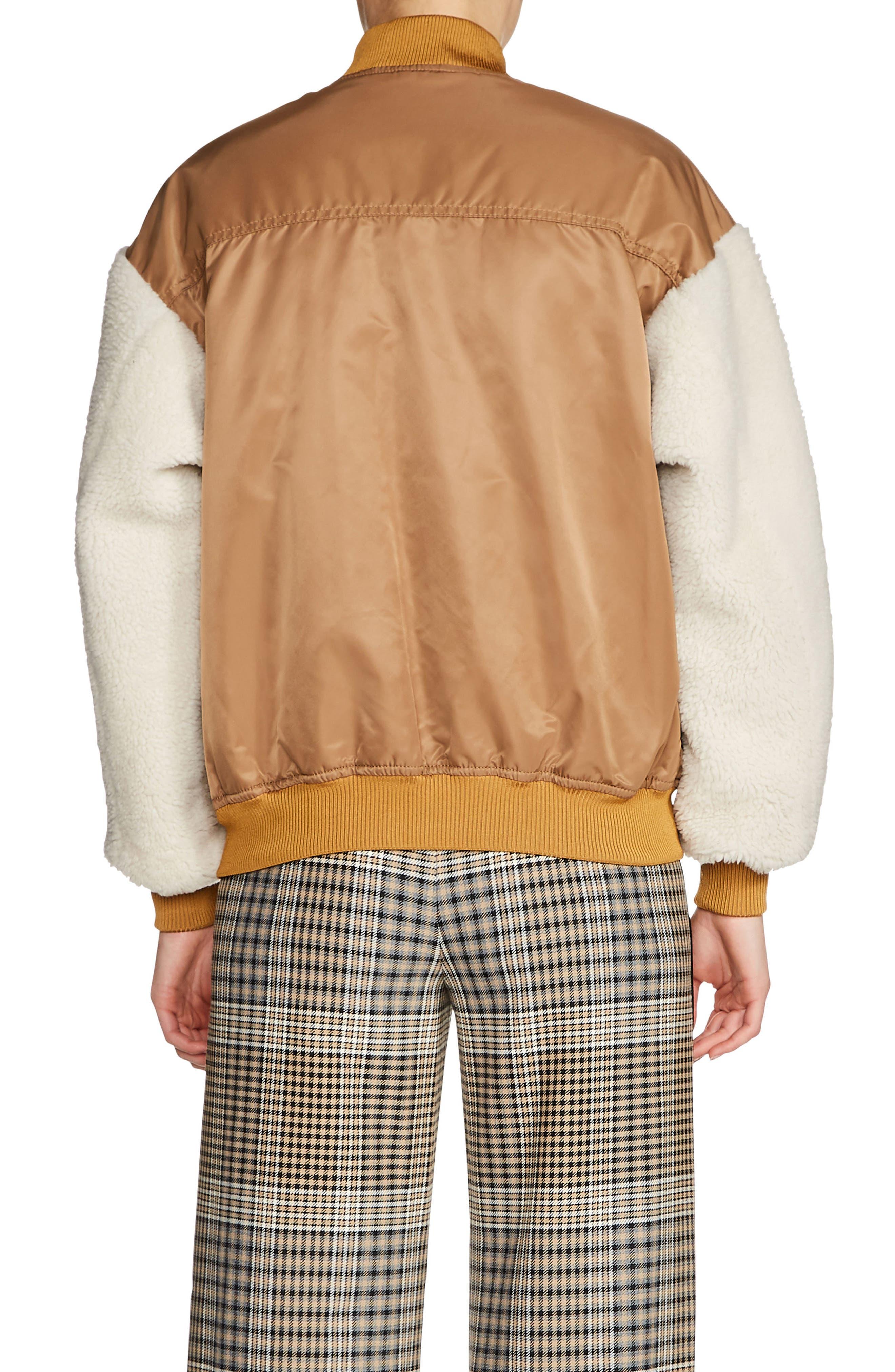 Schott Genuine Shearling Sleeve Bomber Jacket,                             Alternate thumbnail 2, color,                             201