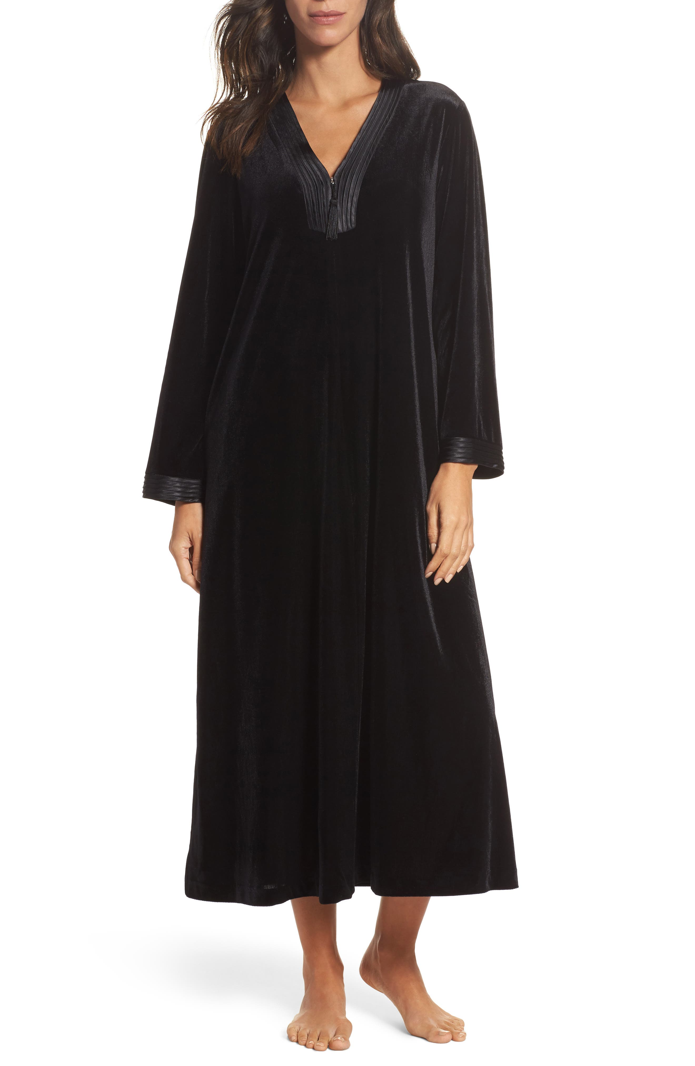 Sleepwear Velvet Caftan,                             Main thumbnail 1, color,                             001