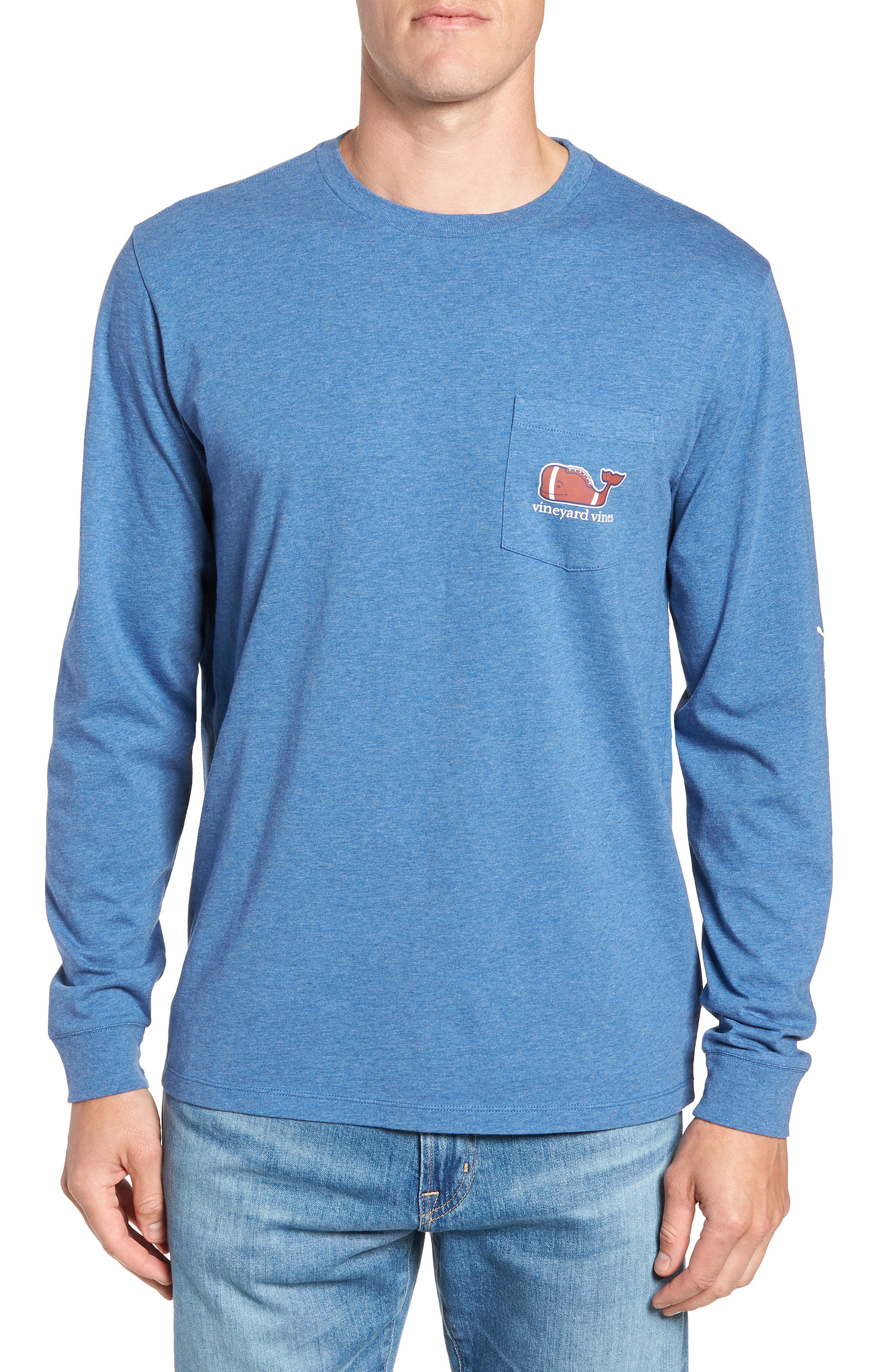 Football Whale Long Sleeve Pocket T-Shirt,                             Main thumbnail 1, color,                             MOONSHINE